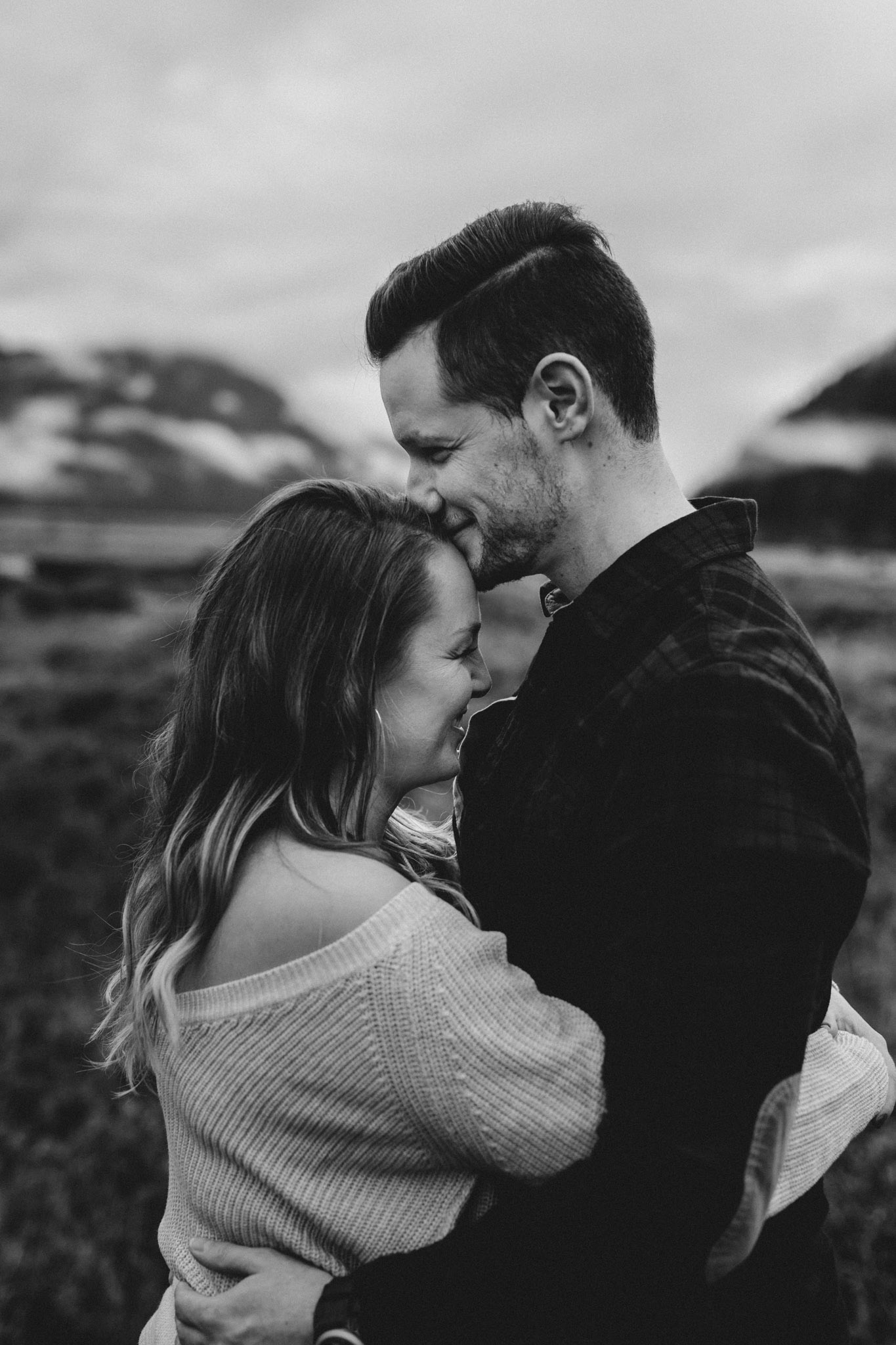 BC Mountain Top Engagement Photographer - forehead kisses