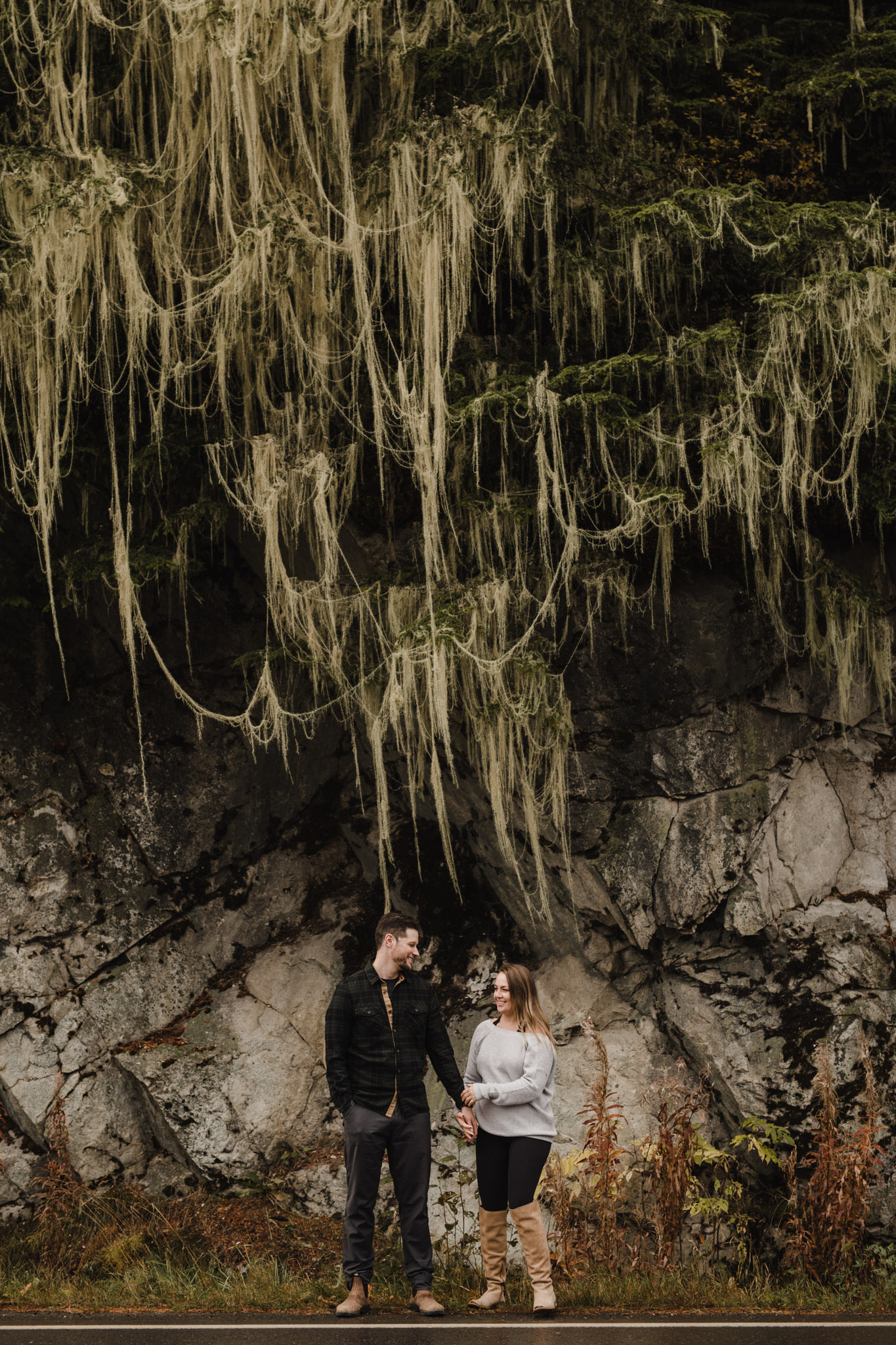 Engagement In the Mountains - portrait under Spanish moss