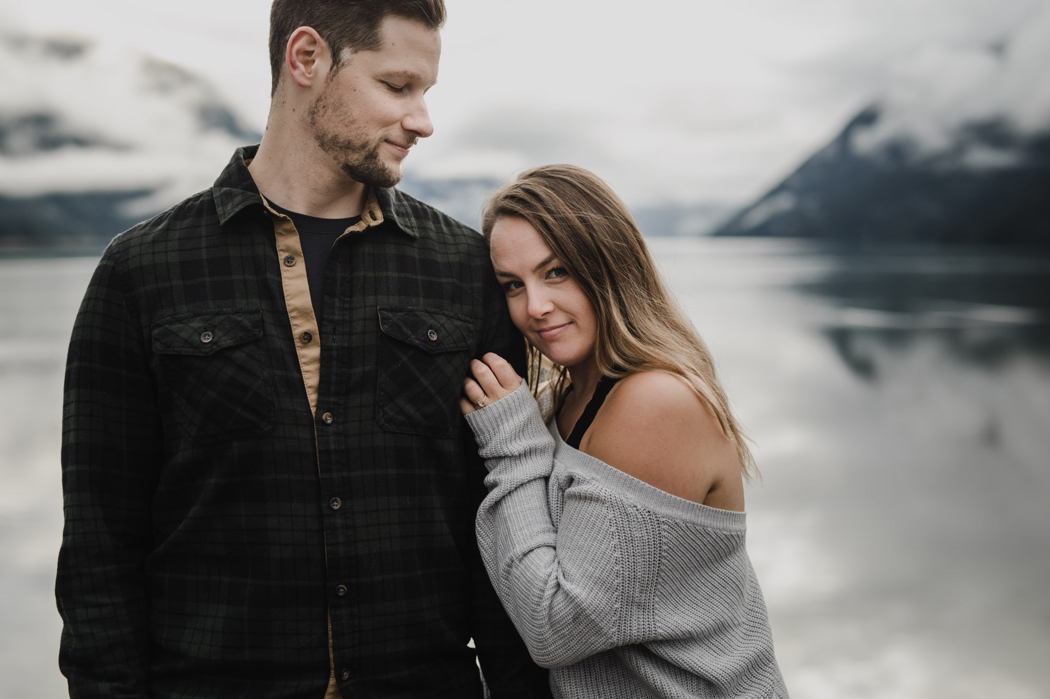 BC Mountain Top Engagement Photographer - sweet smiles