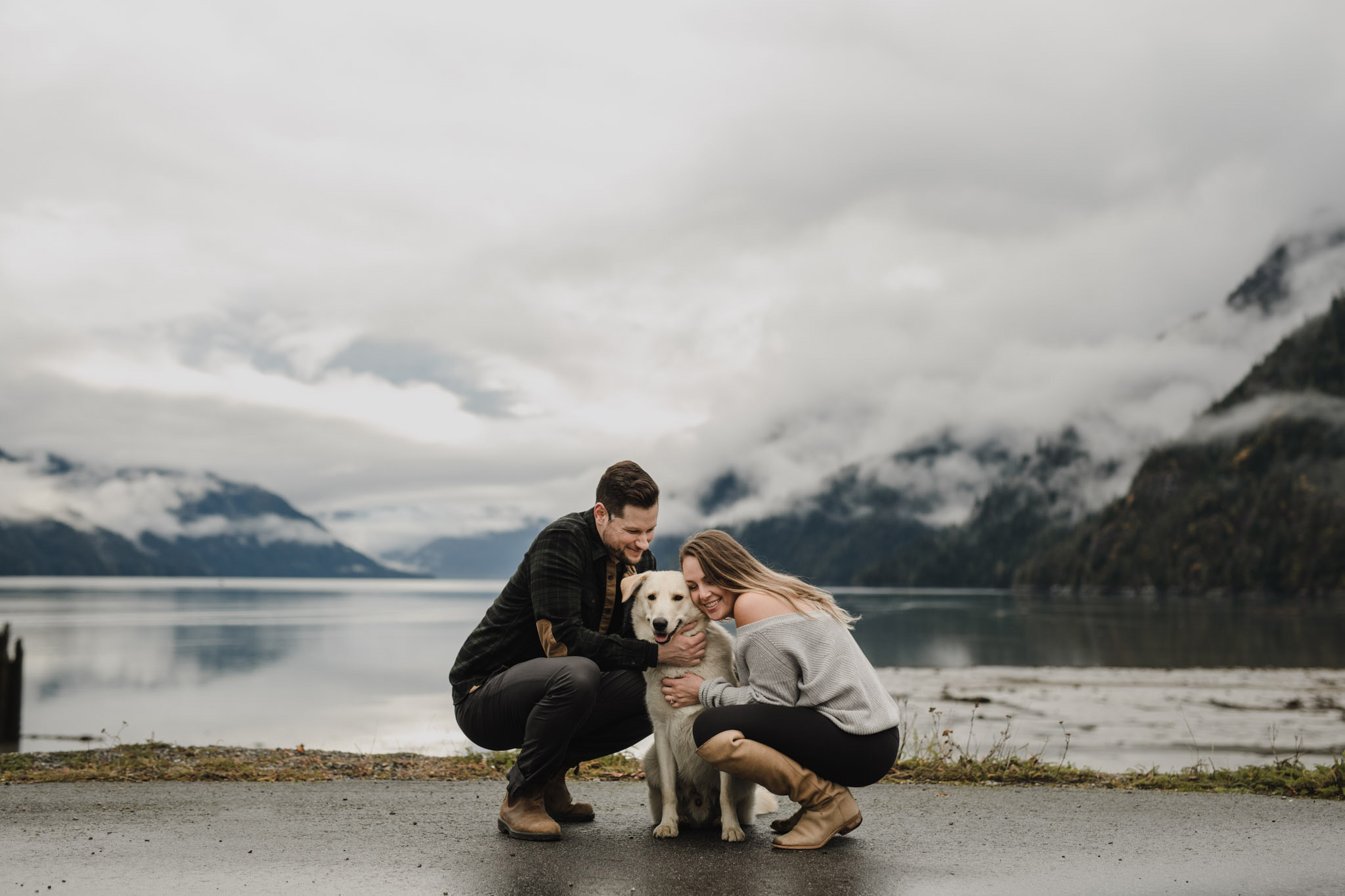 BC Mountain Top Engagement Photographer - doggy cuddles