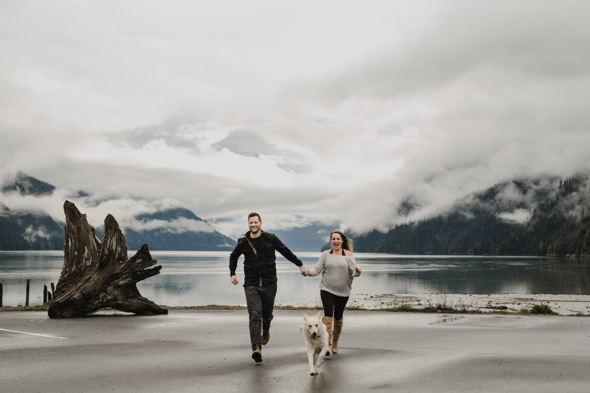 BC Mountain Top Engagement Photographer - running with the dog
