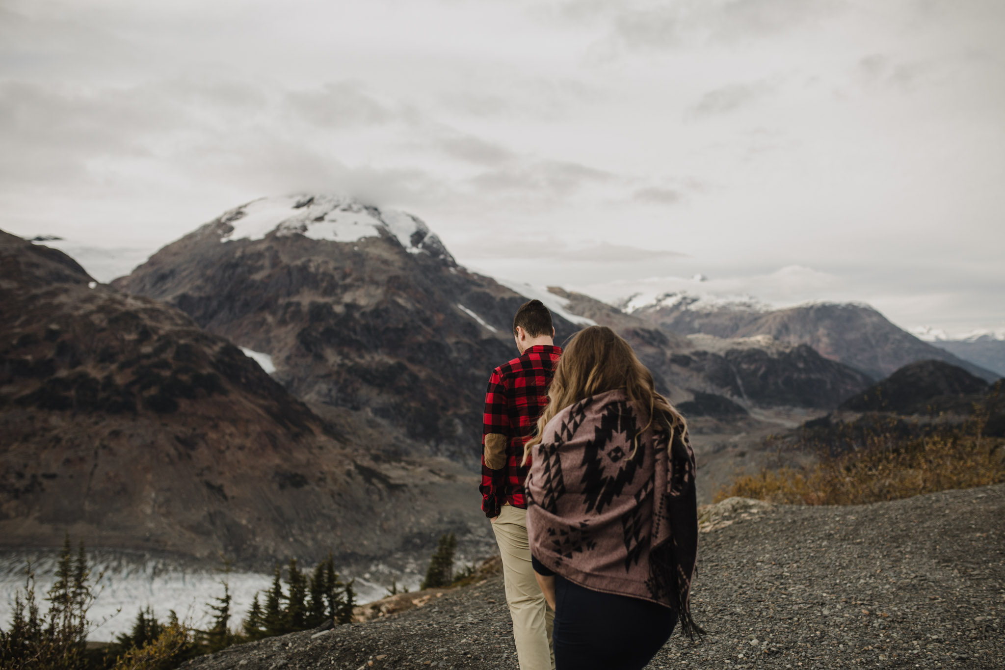 BC Mountain Top Engagement Photographer - walking along the trail