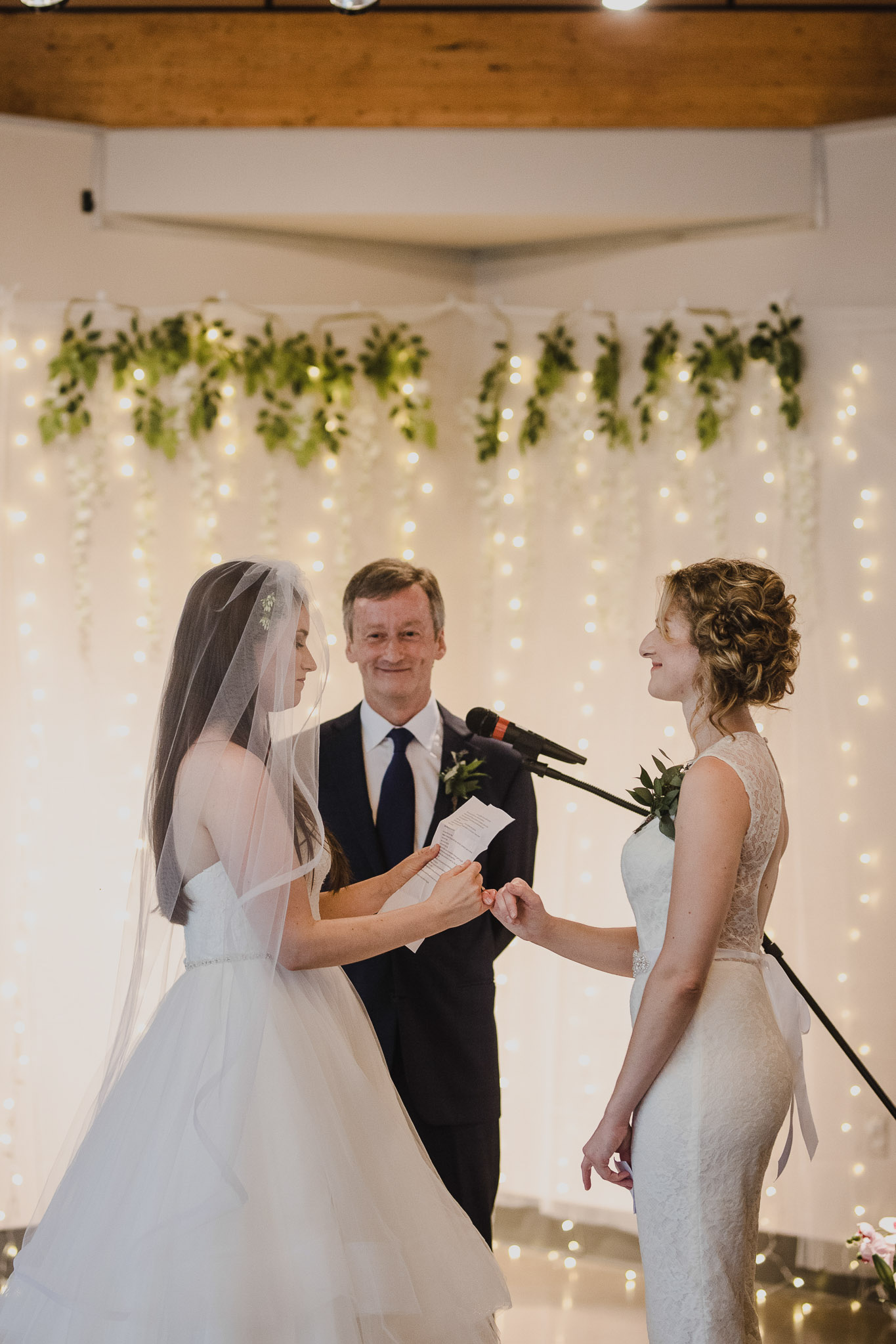 Balls Falls Conservation Area Wedding - pinky swear at the alter