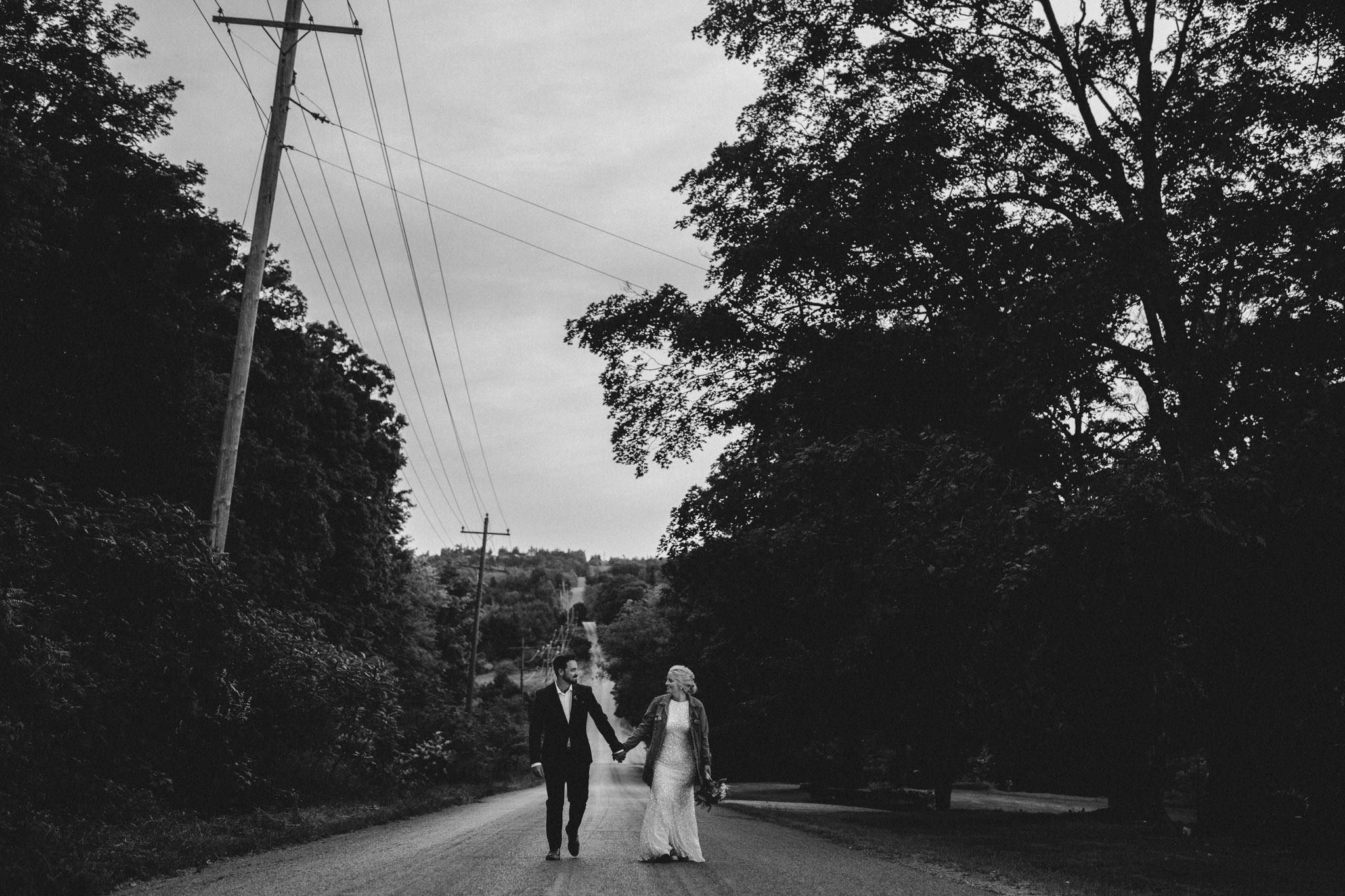 Century Barn Wedding Photographer - portraits on the country road