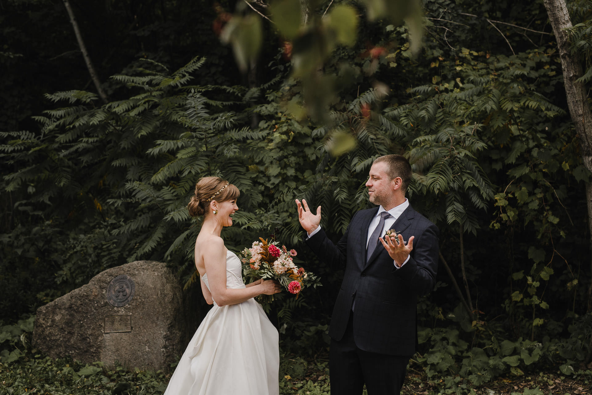 Evergreen Brickworks wedding photographer - first look reaction