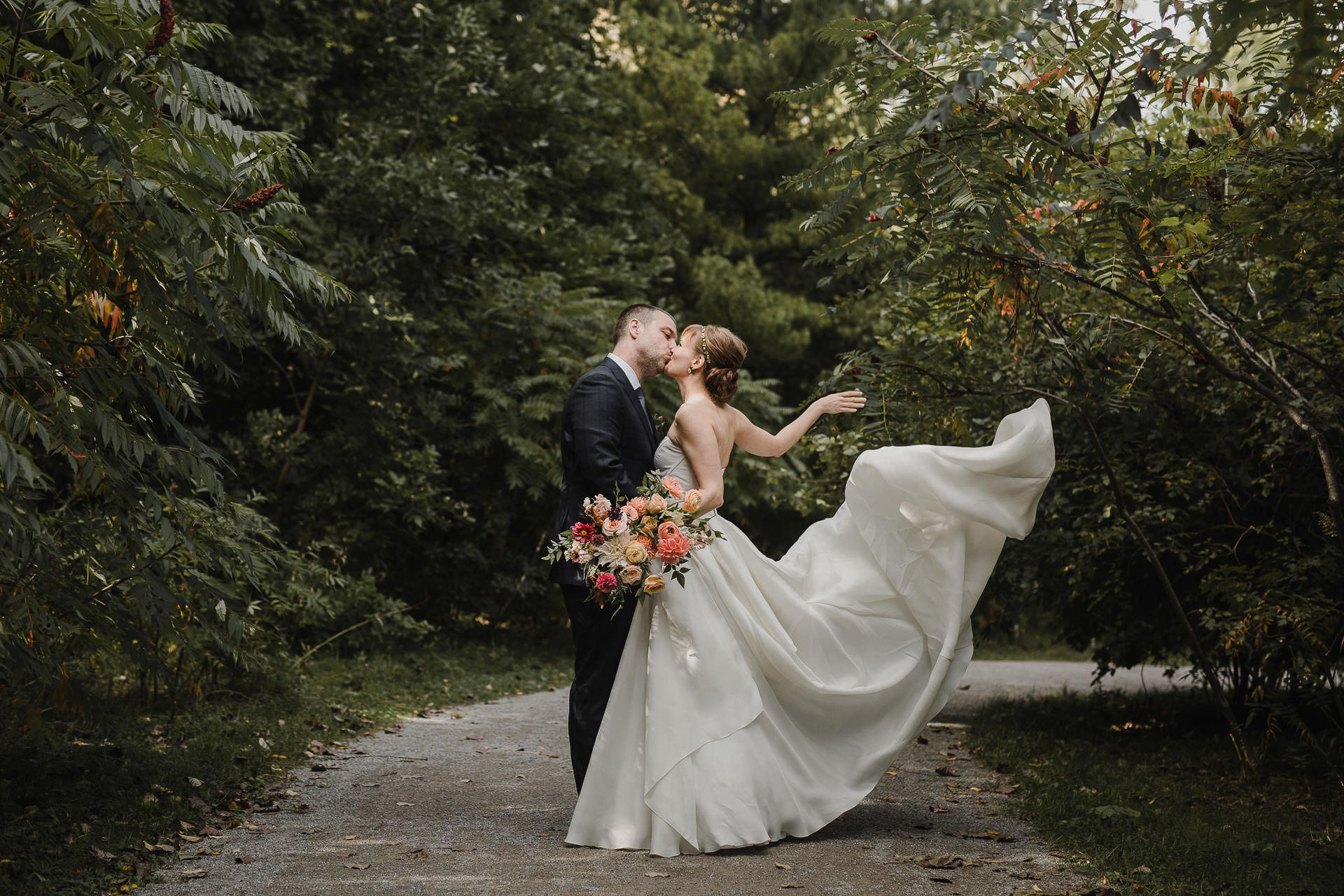Evergreen Brickworks wedding photographer - dress blowing