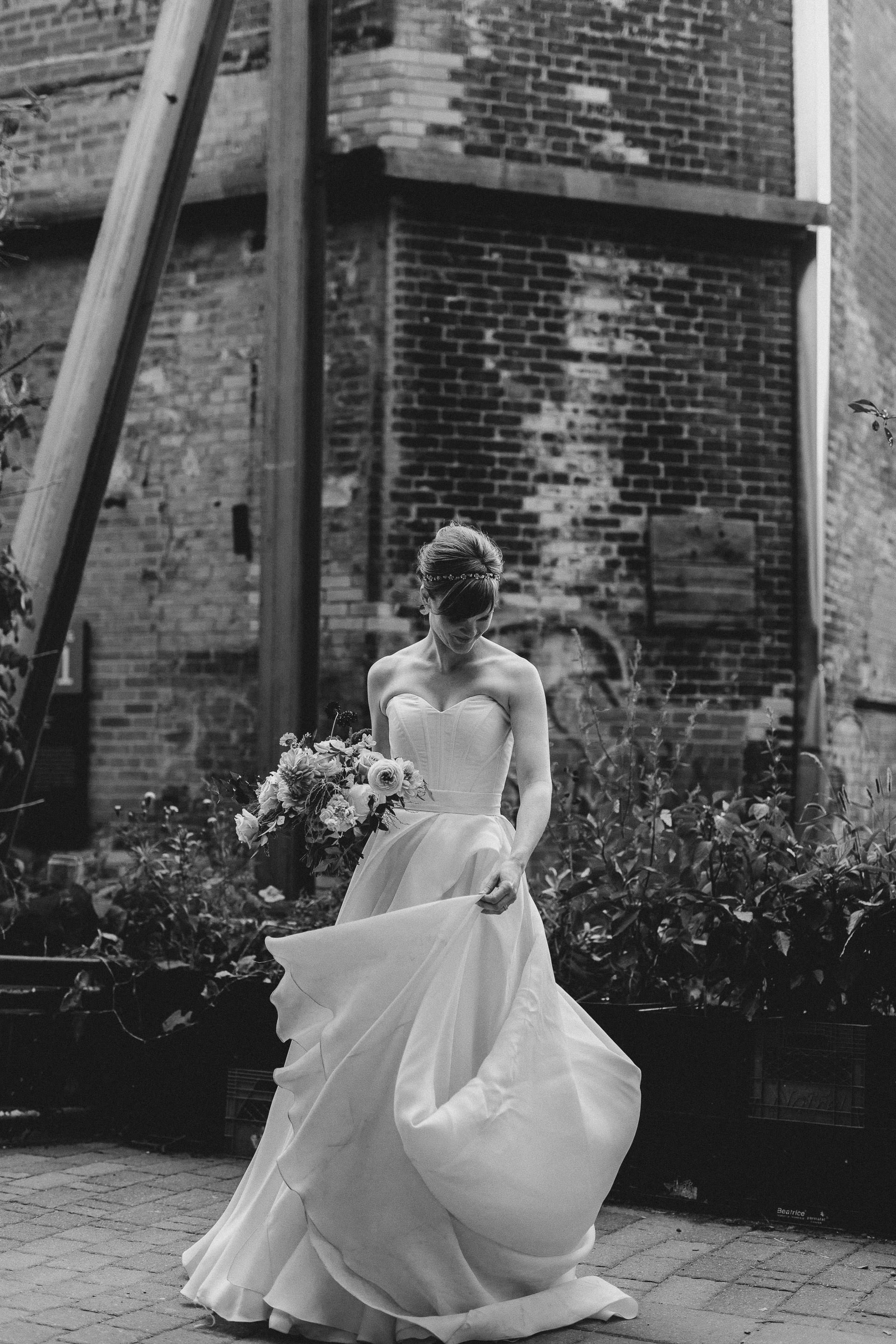 Evergreen Brickworks wedding photographer - portrait of the bride