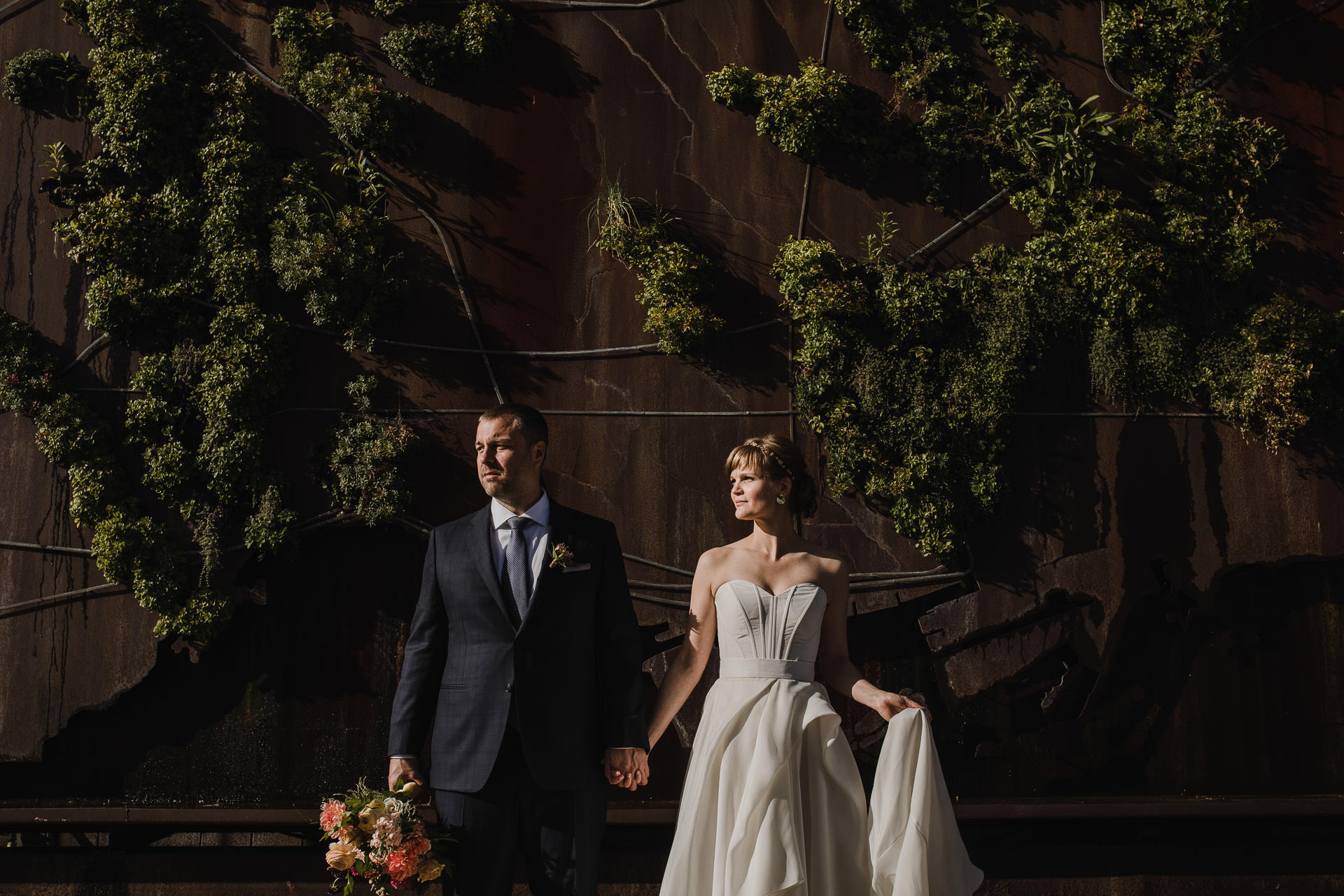 Evergreen Brickworks wedding photographer - sunset portrait with outdoor art