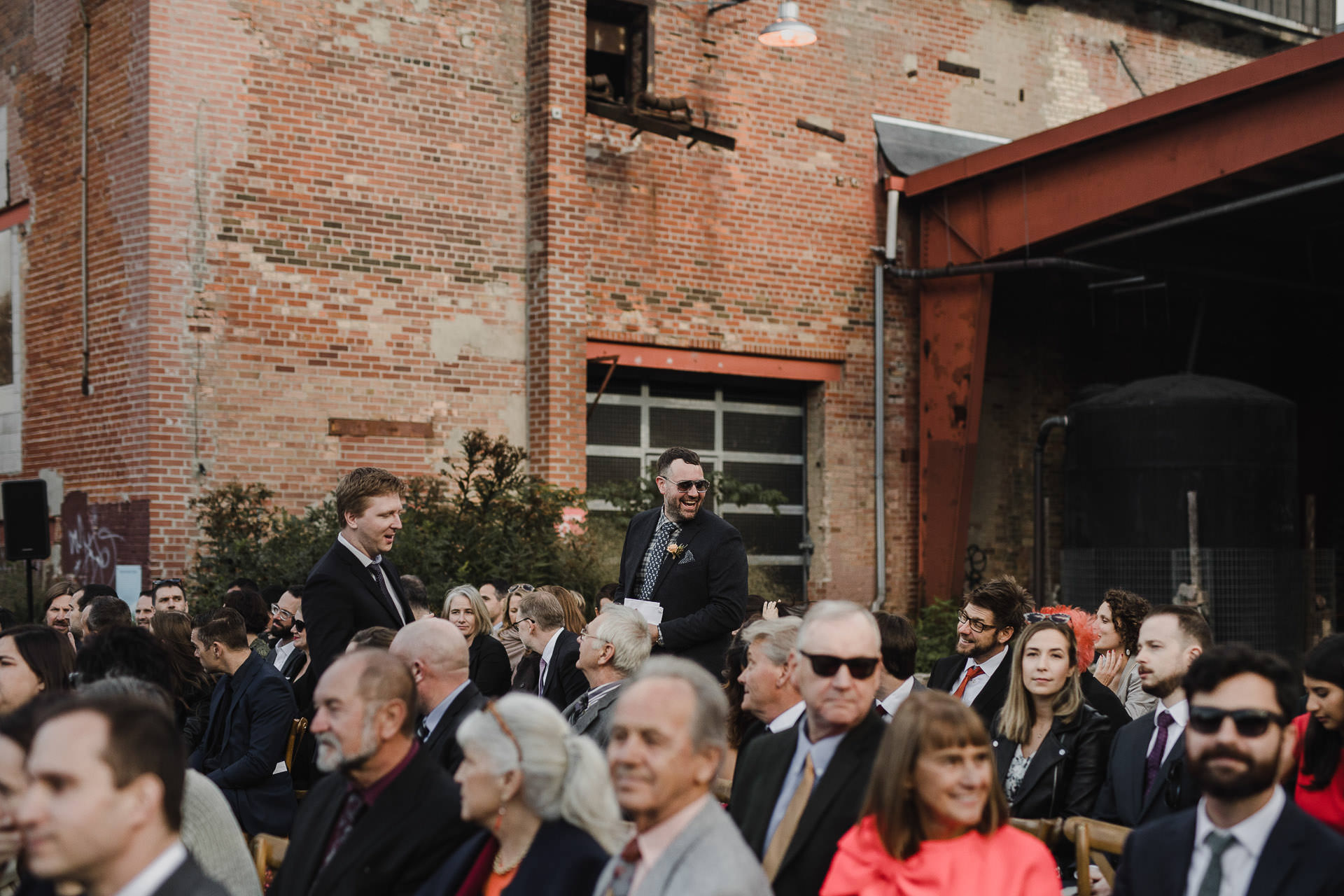 Evergreen Brickworks wedding photographer - guest seating