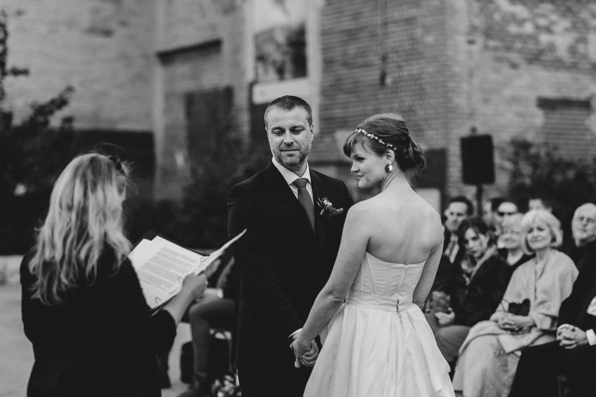 Evergreen Brickworks wedding photographer - urban outdoor ceremony