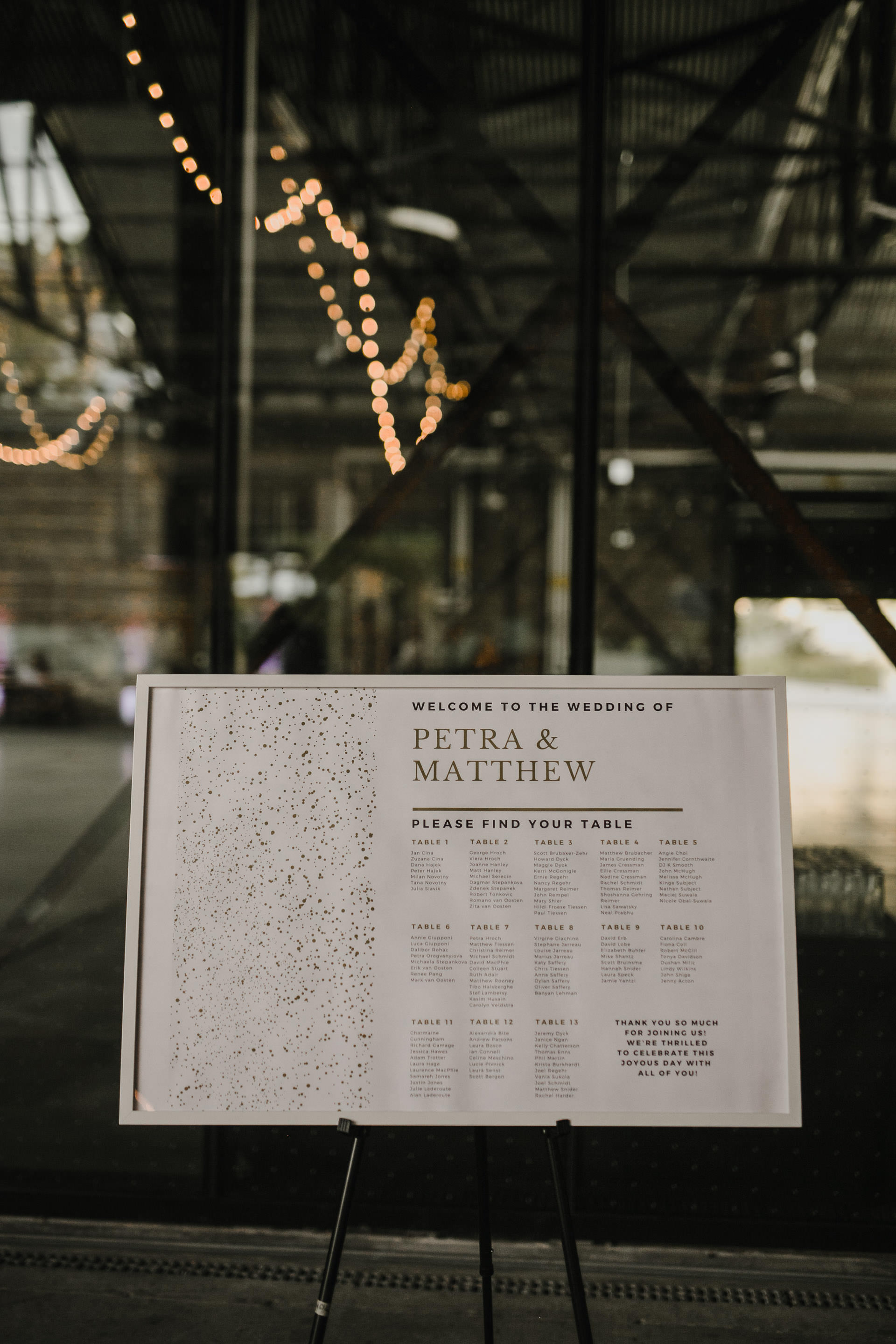 Evergreen Brickworks wedding photographer - seating chart