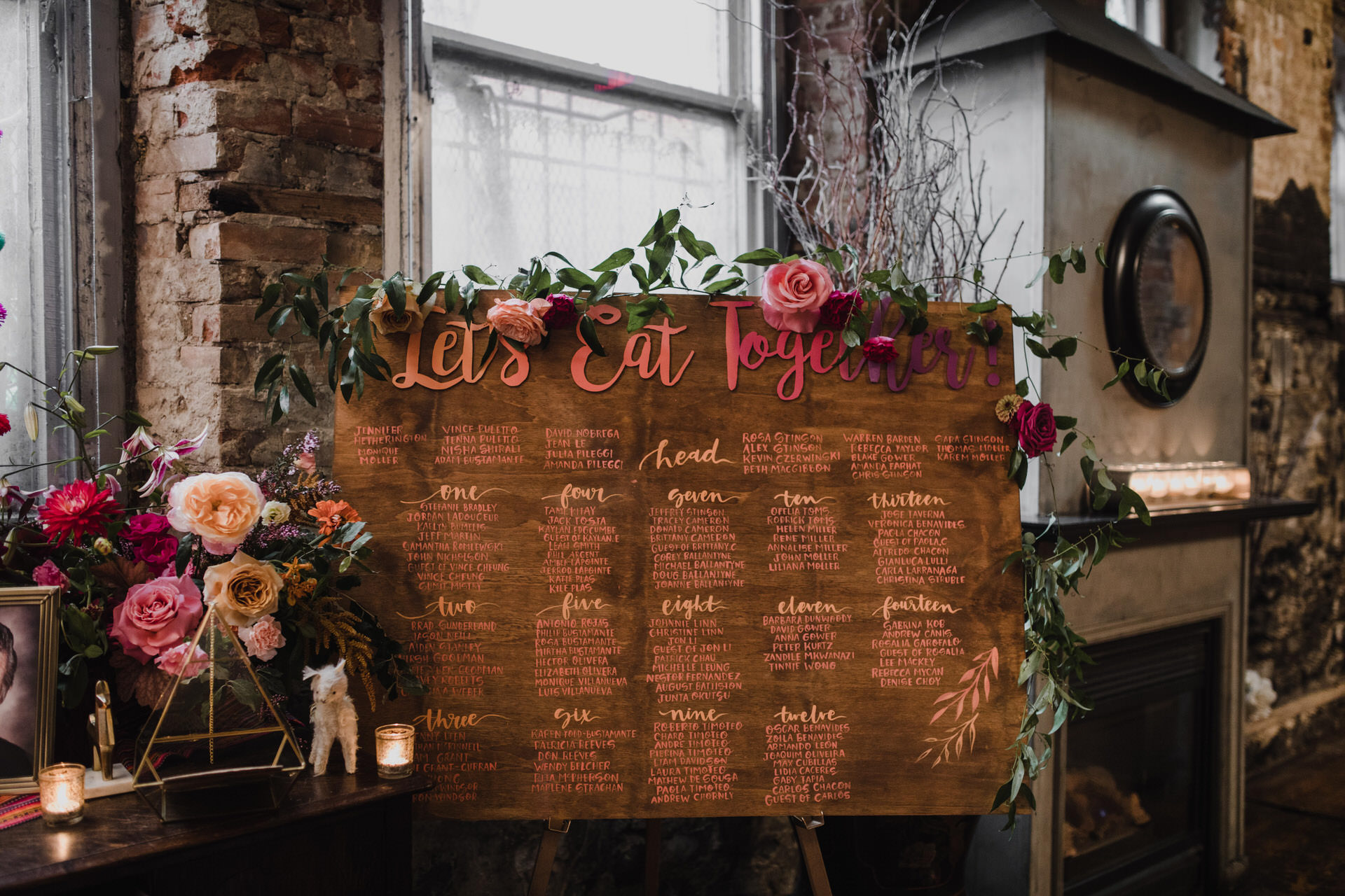 Berkeley Church Wedding - colourful seating chart