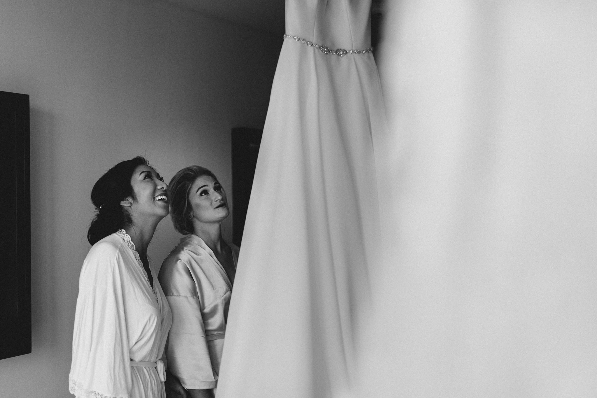 Cancun Mexico Wedding - admiring the dress