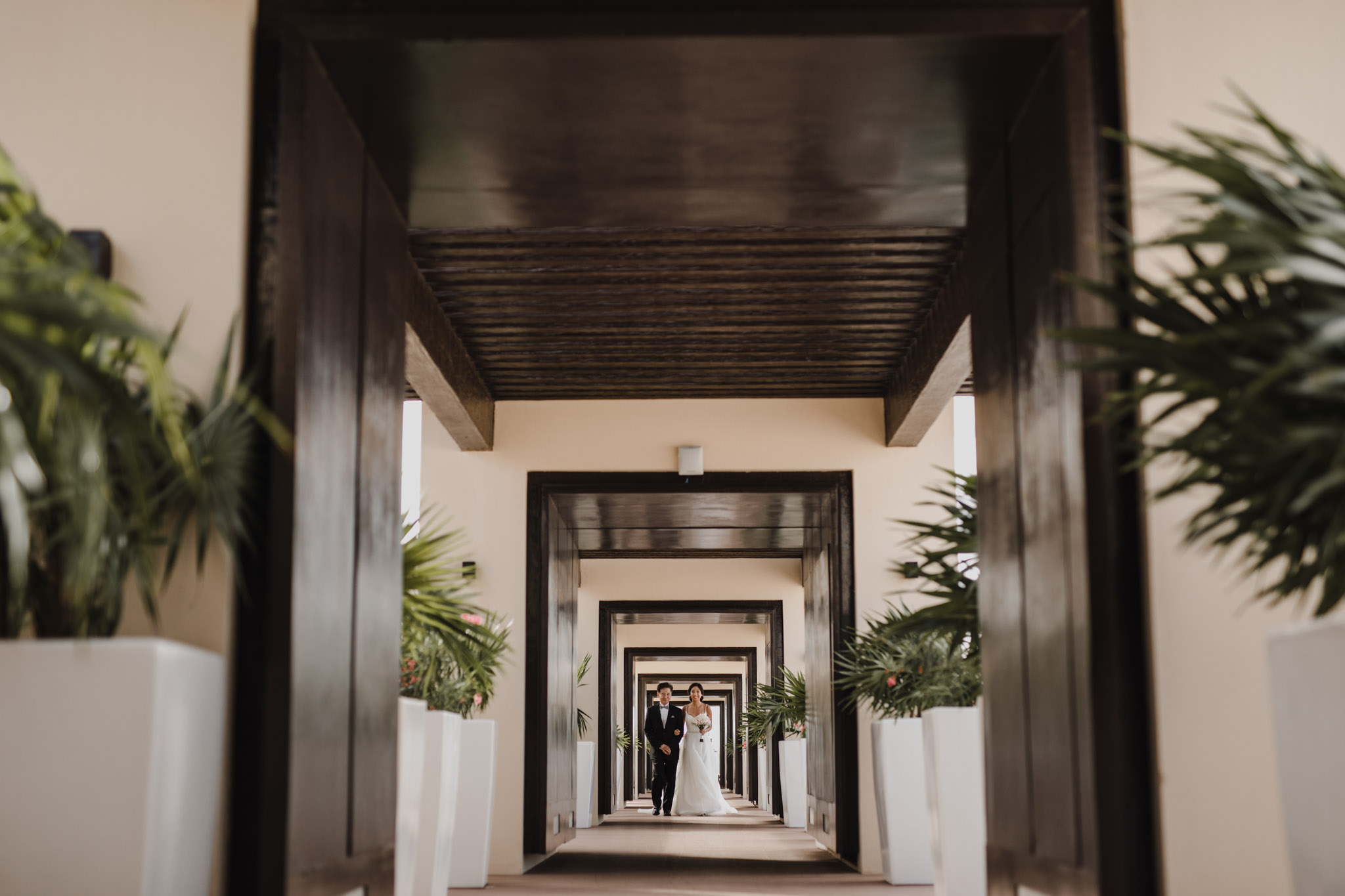 Cancun Mexico Wedding - epic hallway aisle