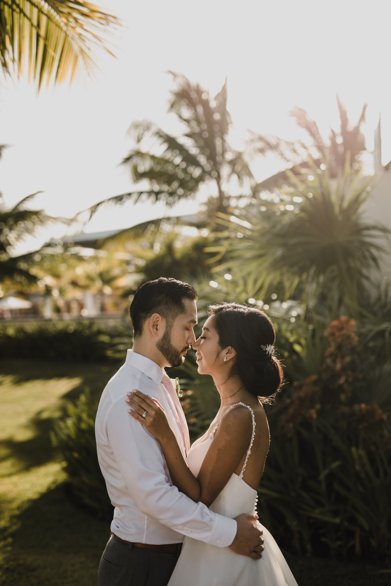 Cancun Mexico Wedding - nose to nose portrait