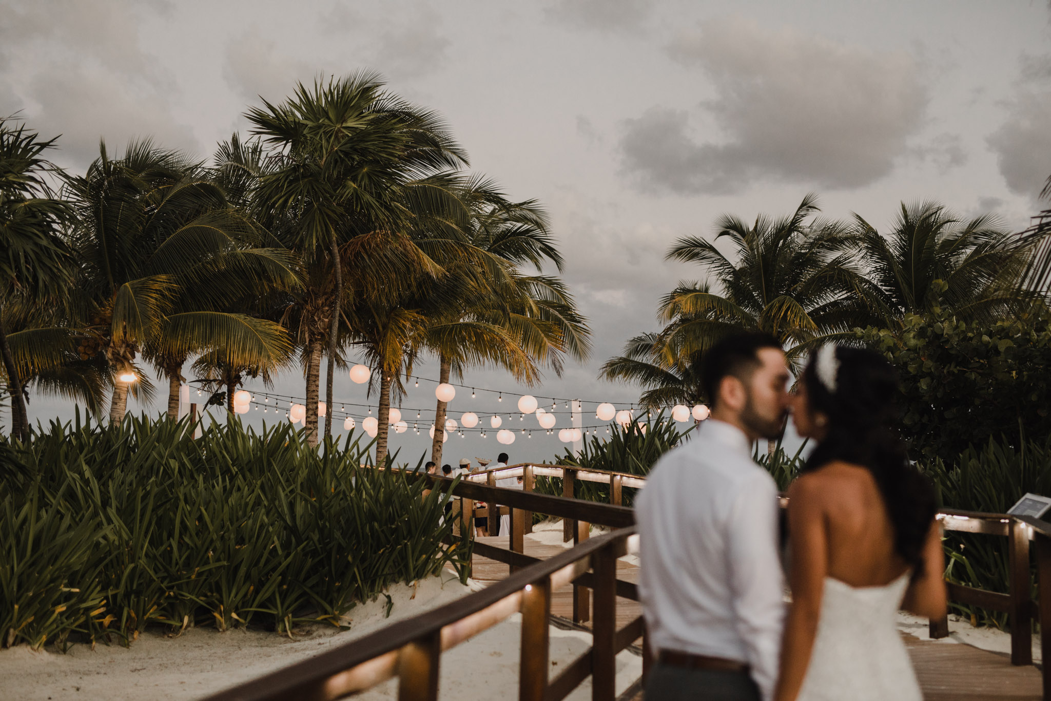 Cancun Mexico Wedding - kissing at dusk