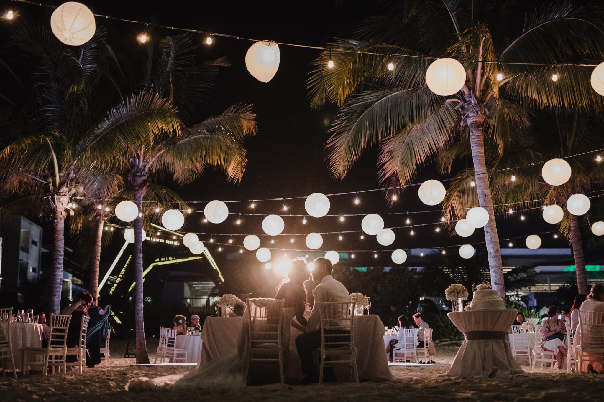 Cancun Mexico Wedding - kissing at the reception