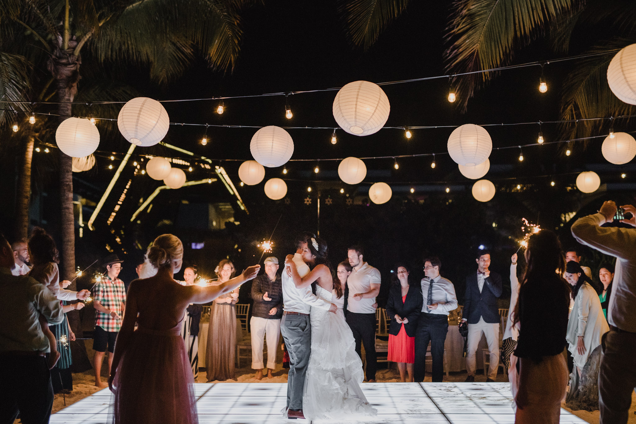 Cancun Mexico Wedding - first dance with sparklers