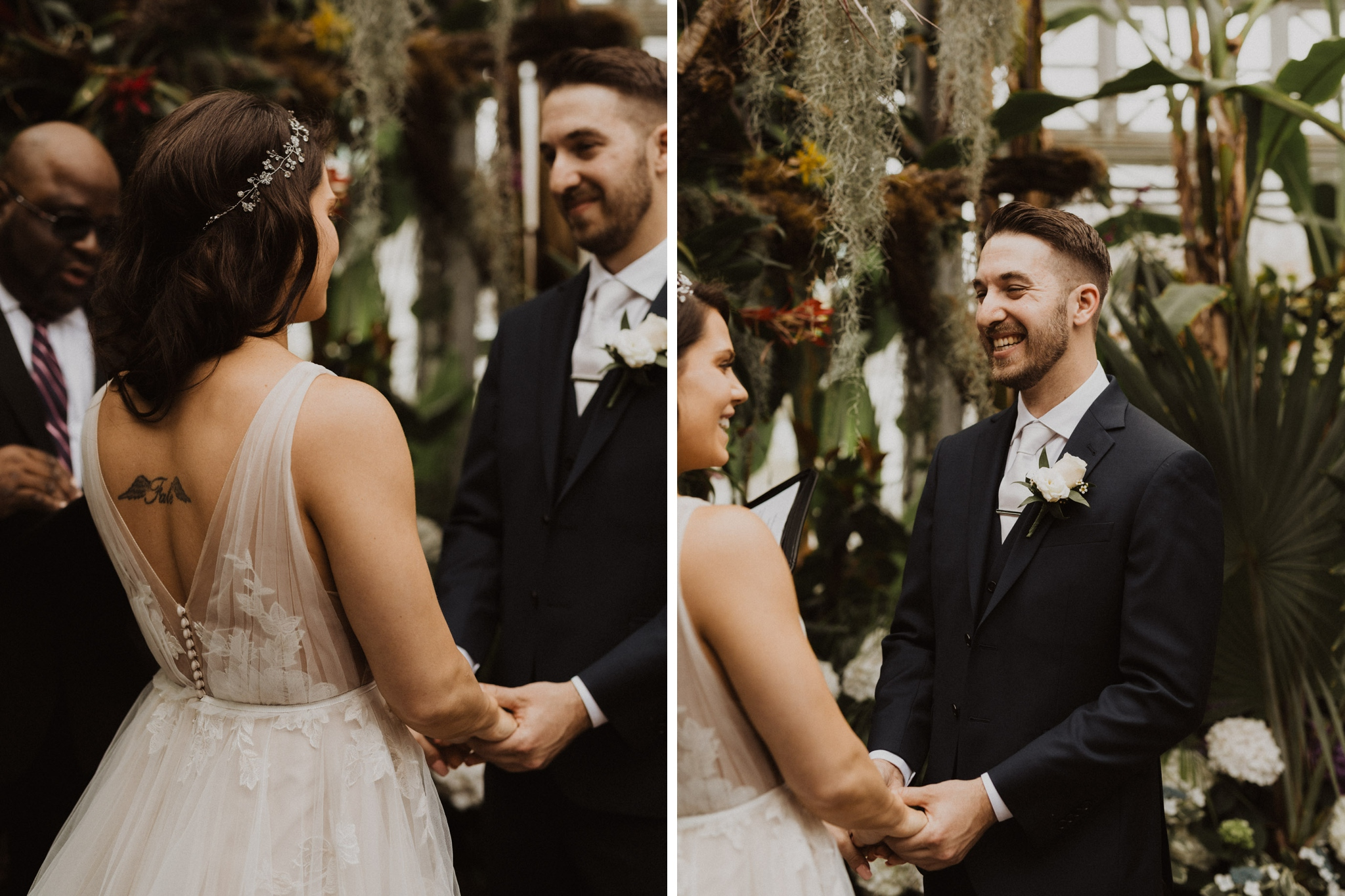Greenhouse Elopement Allan Gardens Toronto - holding hands at the alter