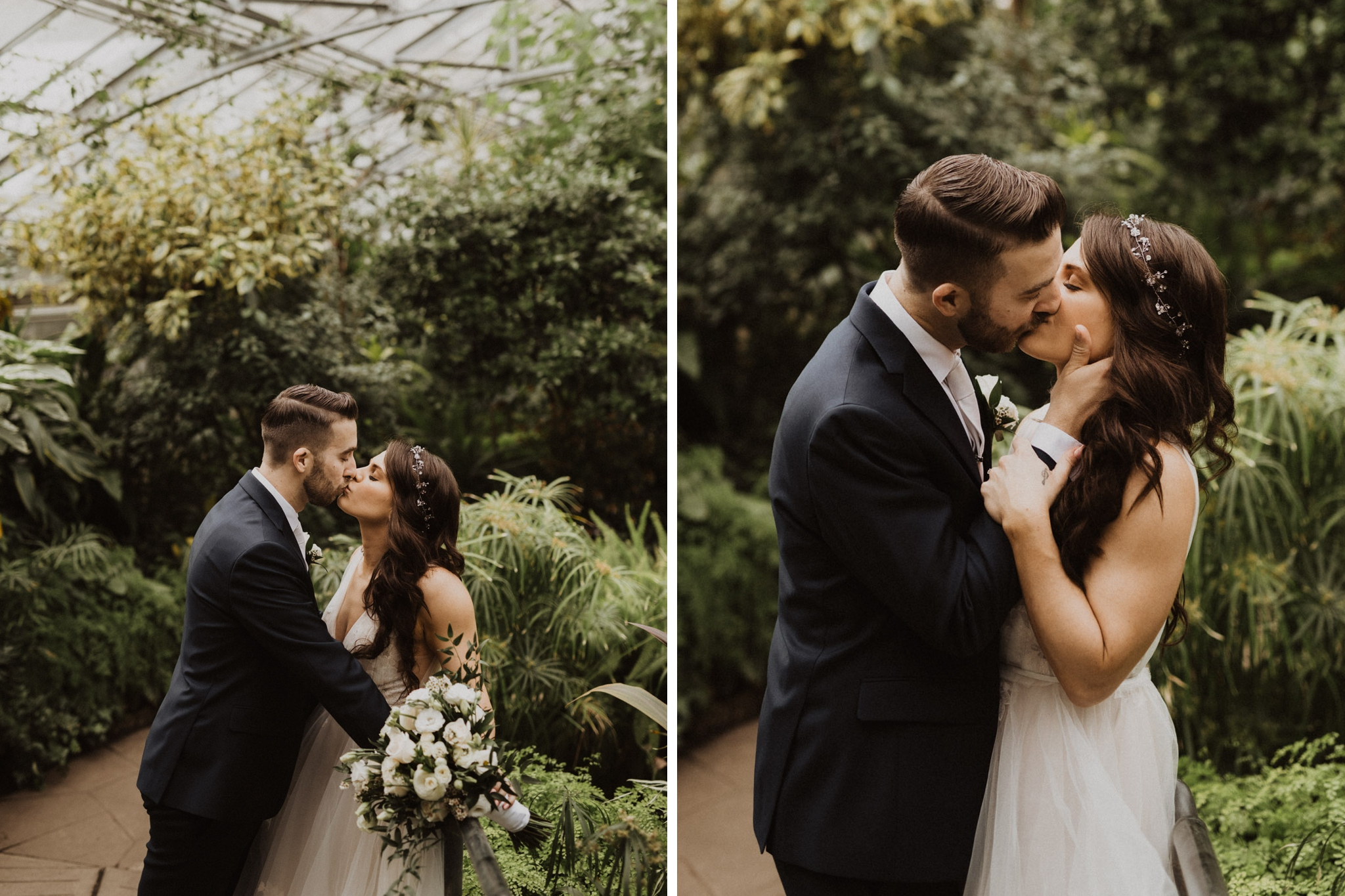 Greenhouse Elopement Allan Gardens Toronto - bride and groom kiss