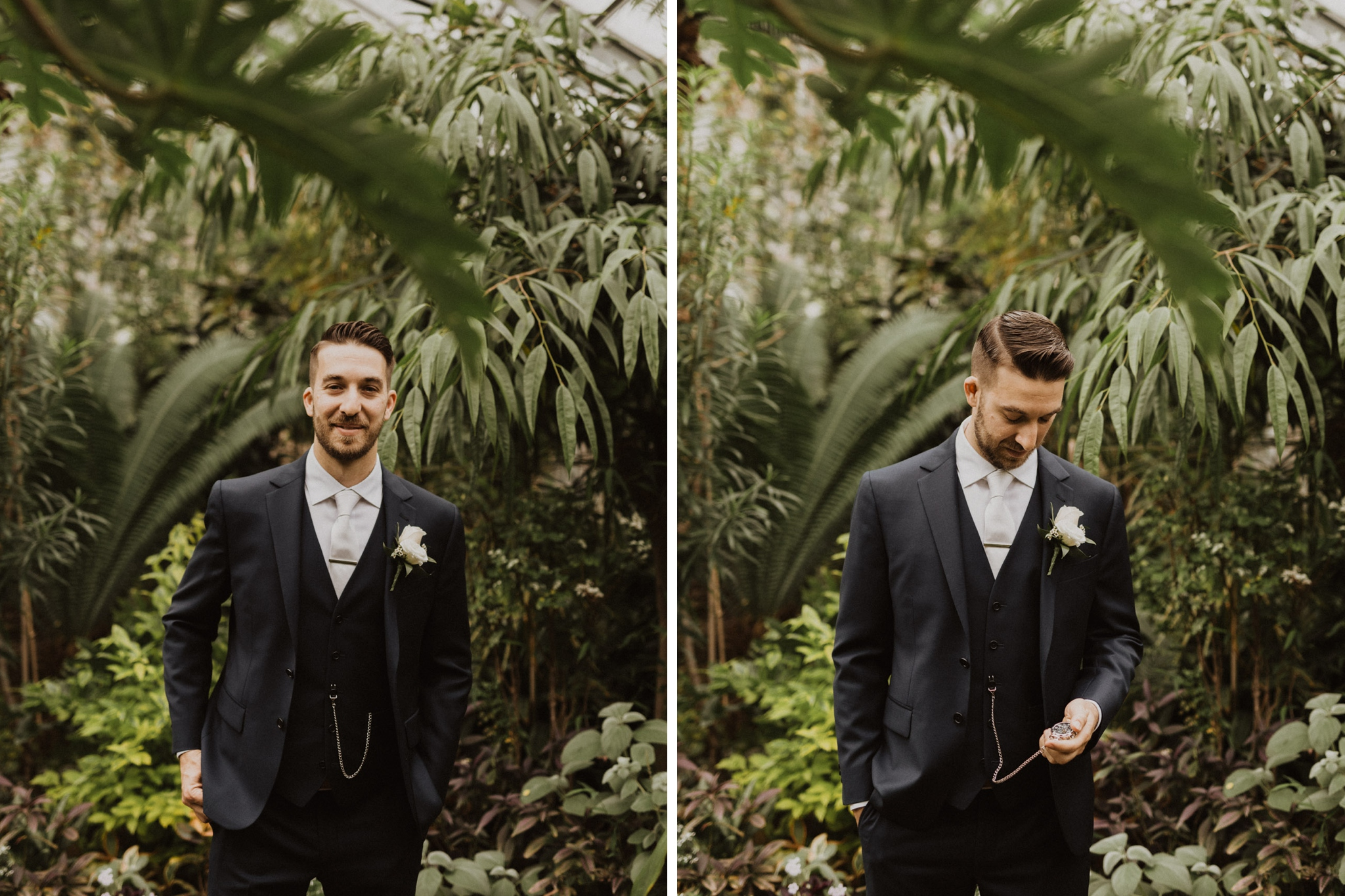 Greenhouse Elopement Allan Gardens Toronto - groom and plants