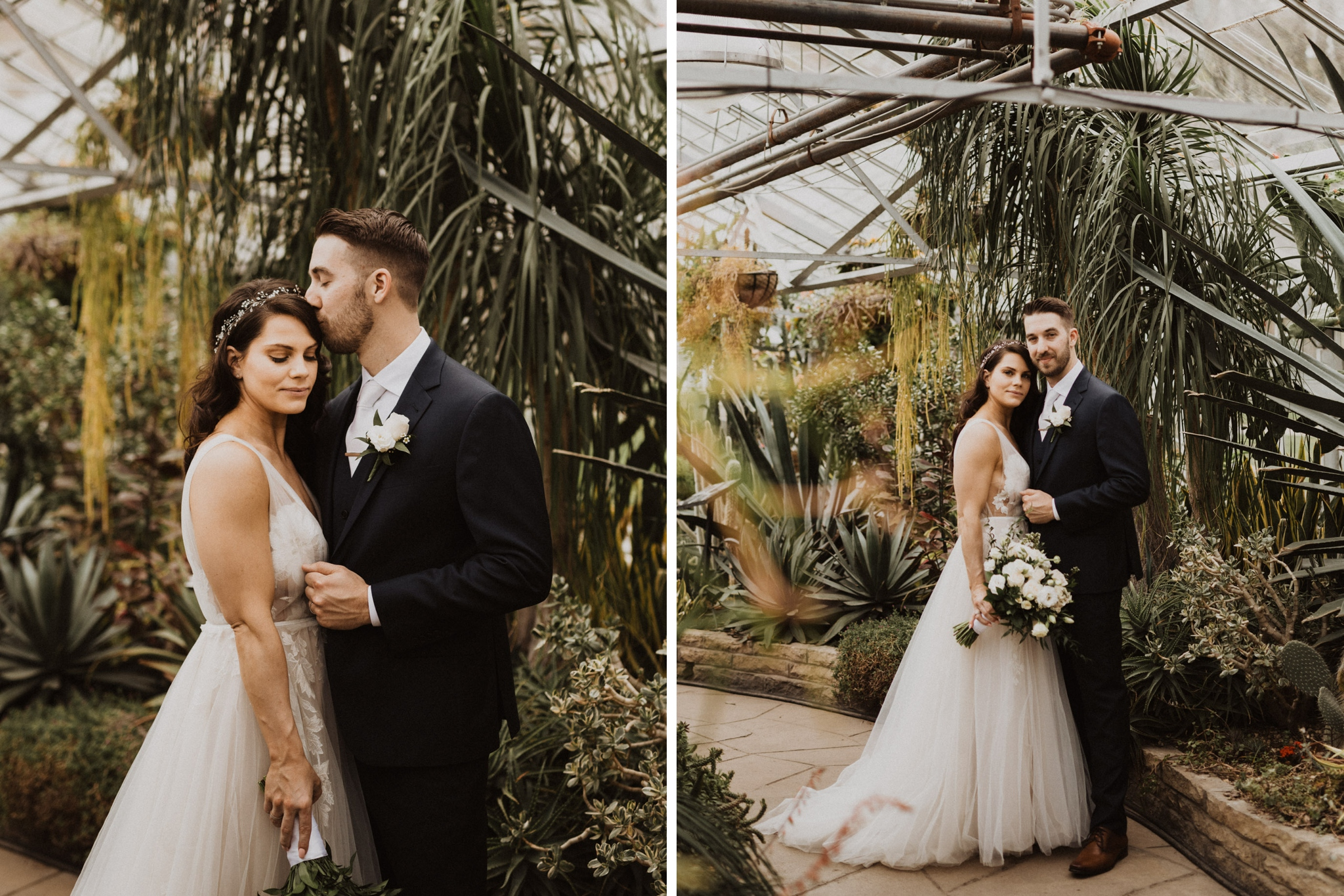 Greenhouse Elopement Allan Gardens Toronto - bride and groom portraits