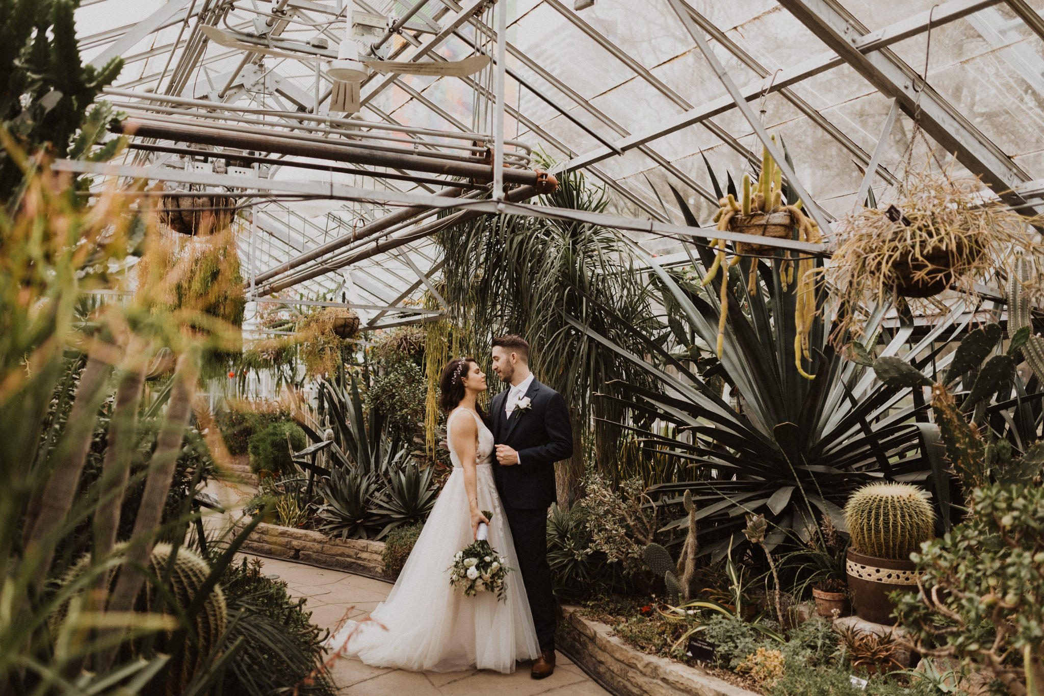 Greenhouse Elopement Allan Gardens Toronto - bride and groom greenhouse