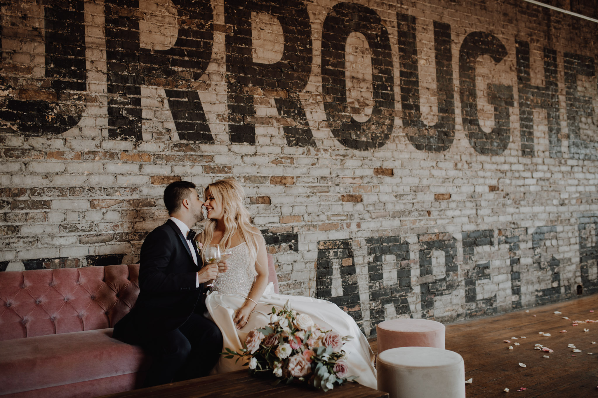 Pink velvet decor at The Burroughes Wedding. Love By Lynzie. Wedding Photographer Jennifer See Studios.