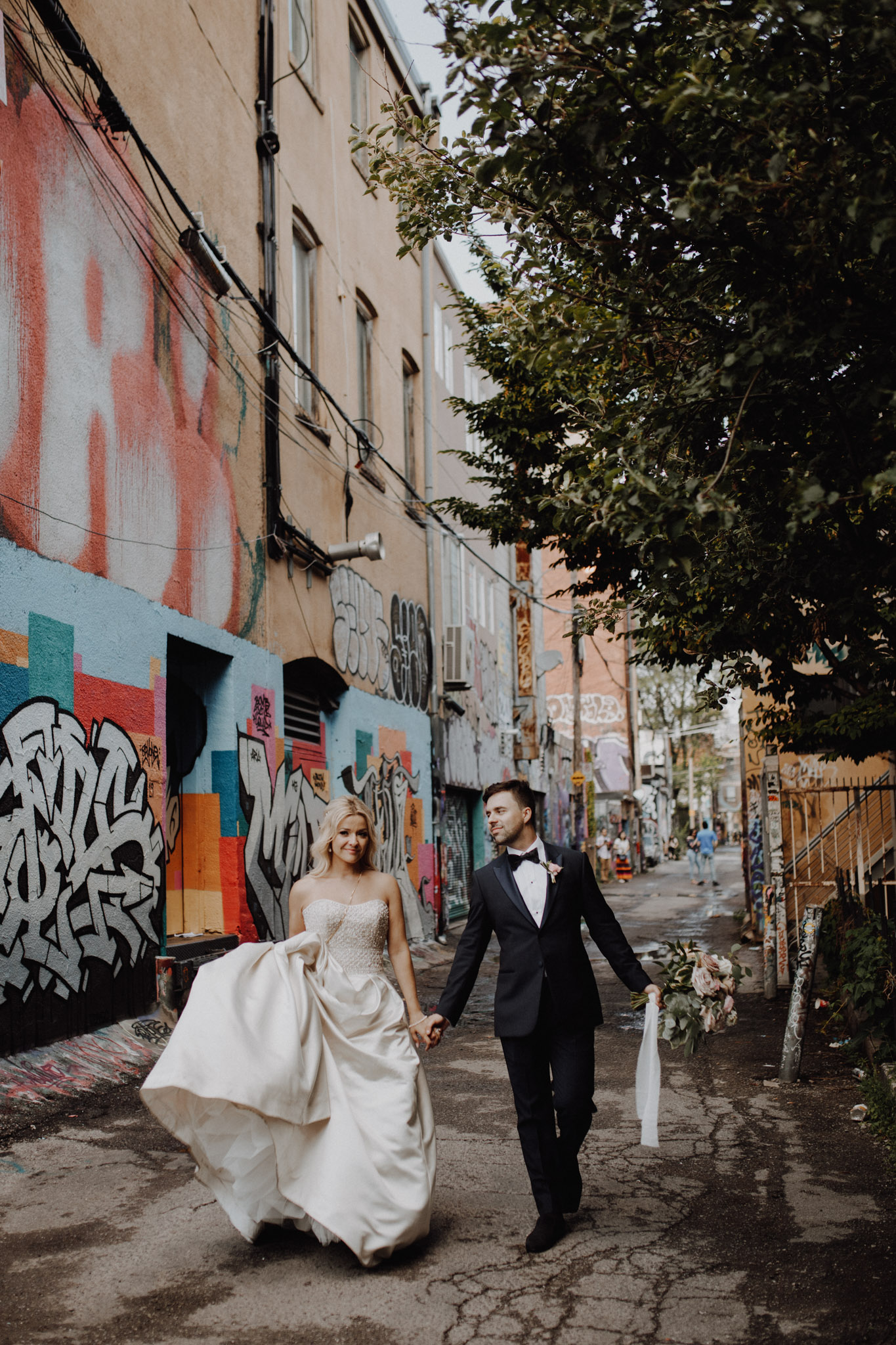 Graffiti alley walk at The Burroughes Wedding. Love By Lynzie. Wedding Photographer Jennifer See Studios.
