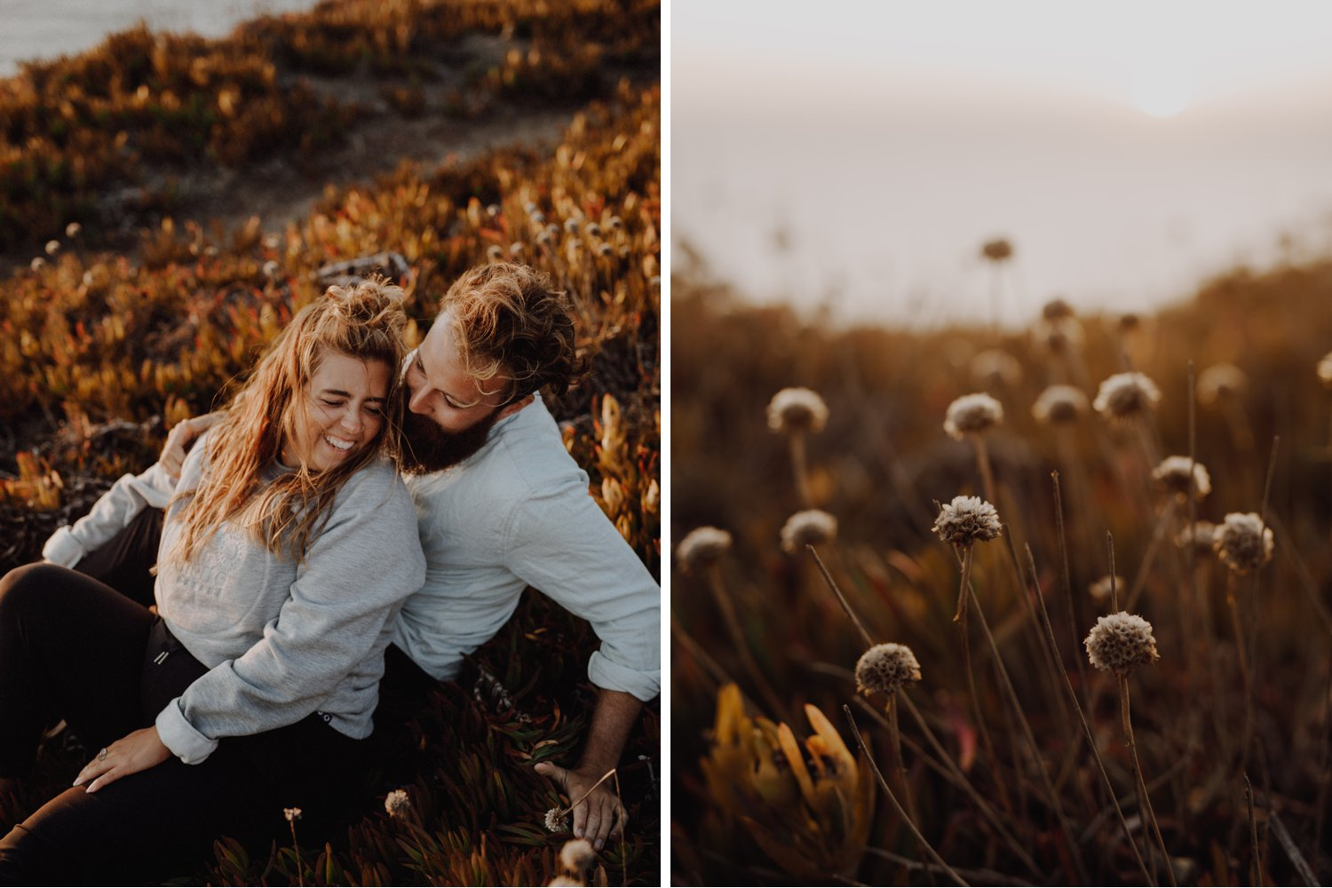 Destination Elopement Photographer - Connection Session in Portugal - sunset portraits in the grass