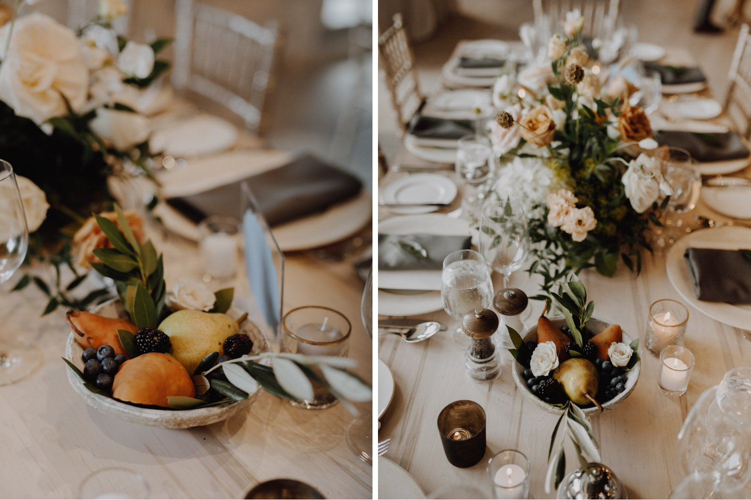 Elora Mill Wedding - fruit and floral decor