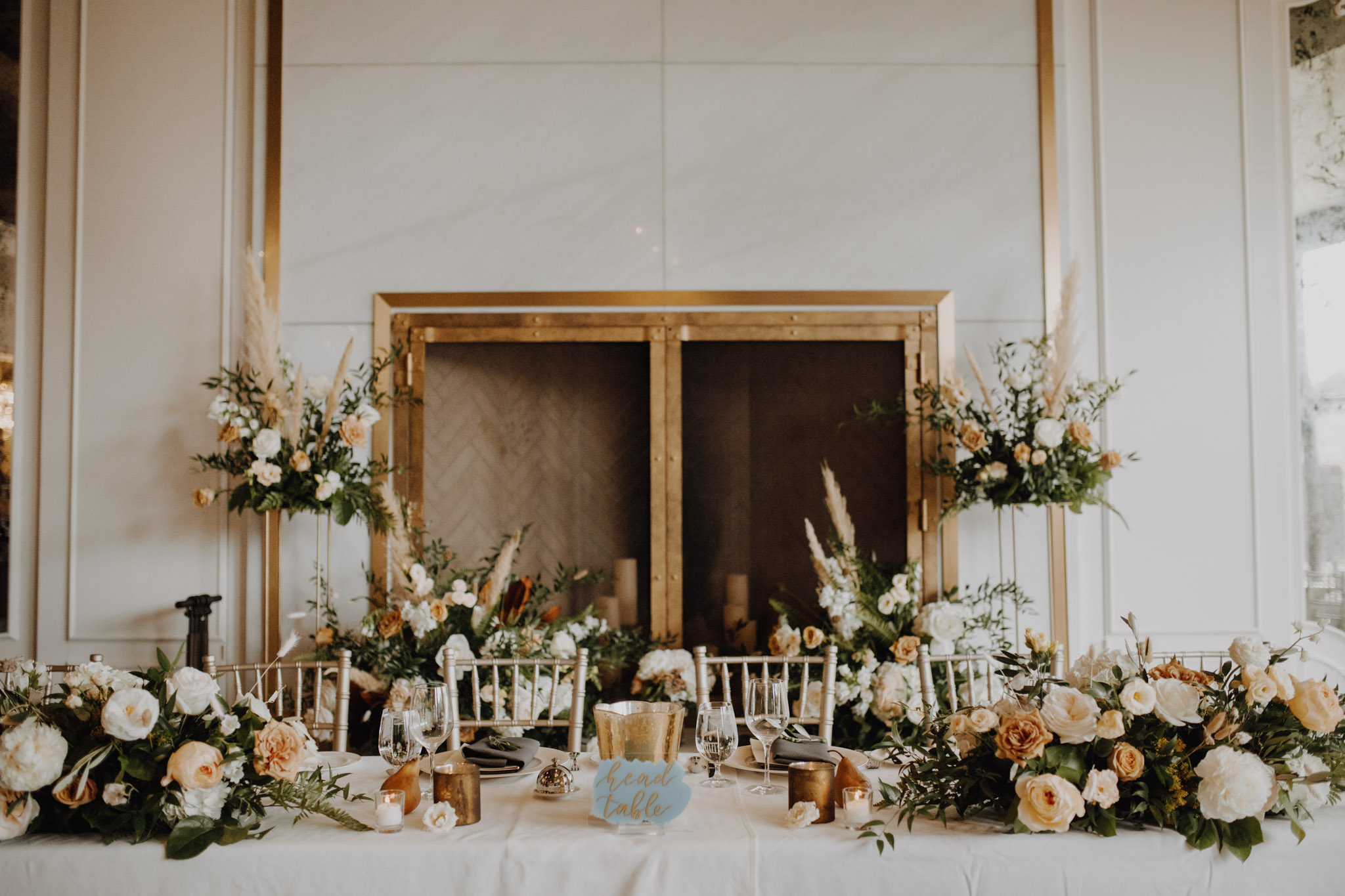 Elora Mill Wedding - peach and gold decor