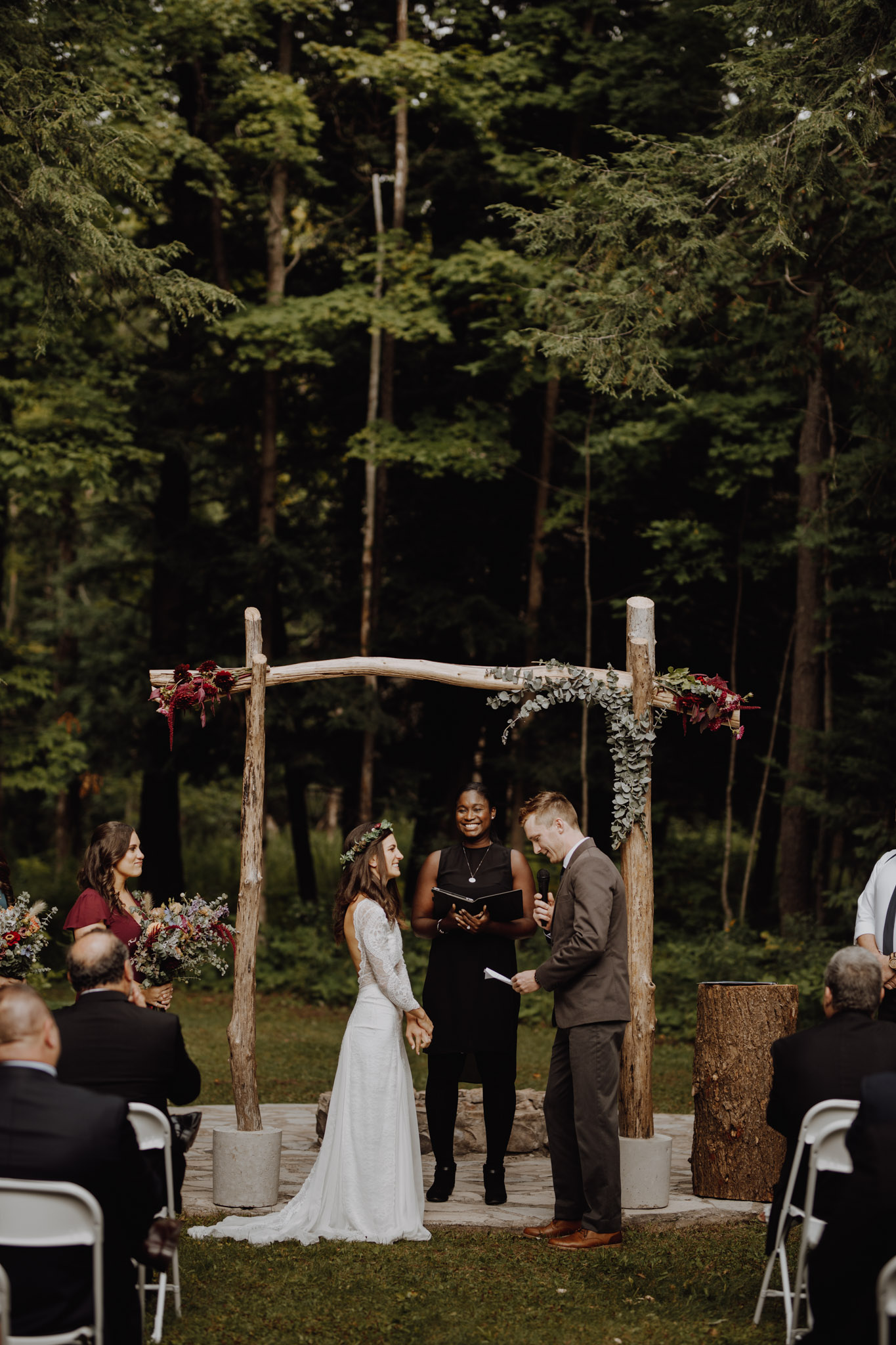 Outdoor Camp Wedding - ceremony by the forest