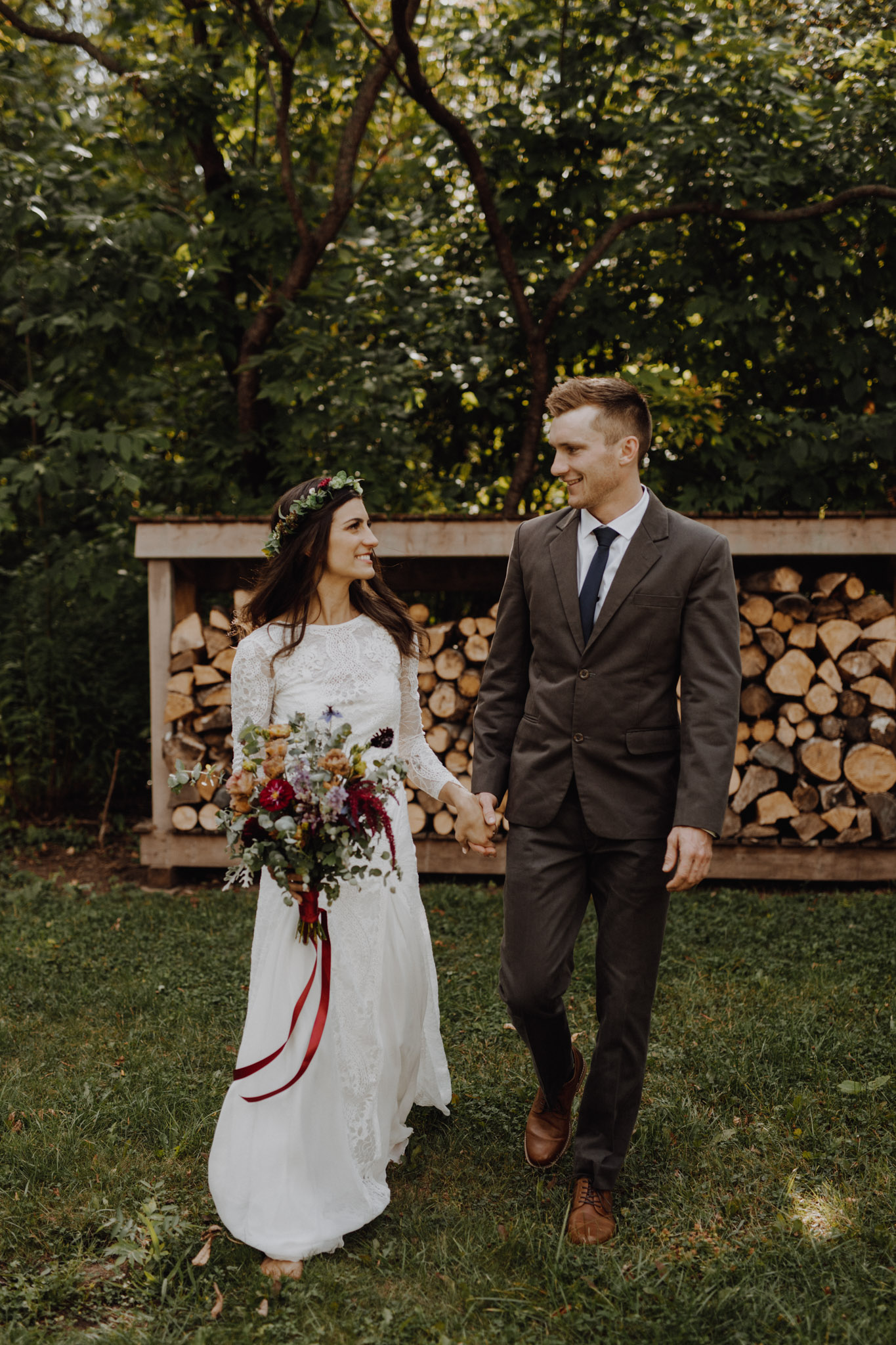 Outdoor Camp Wedding - Portraits by firewood