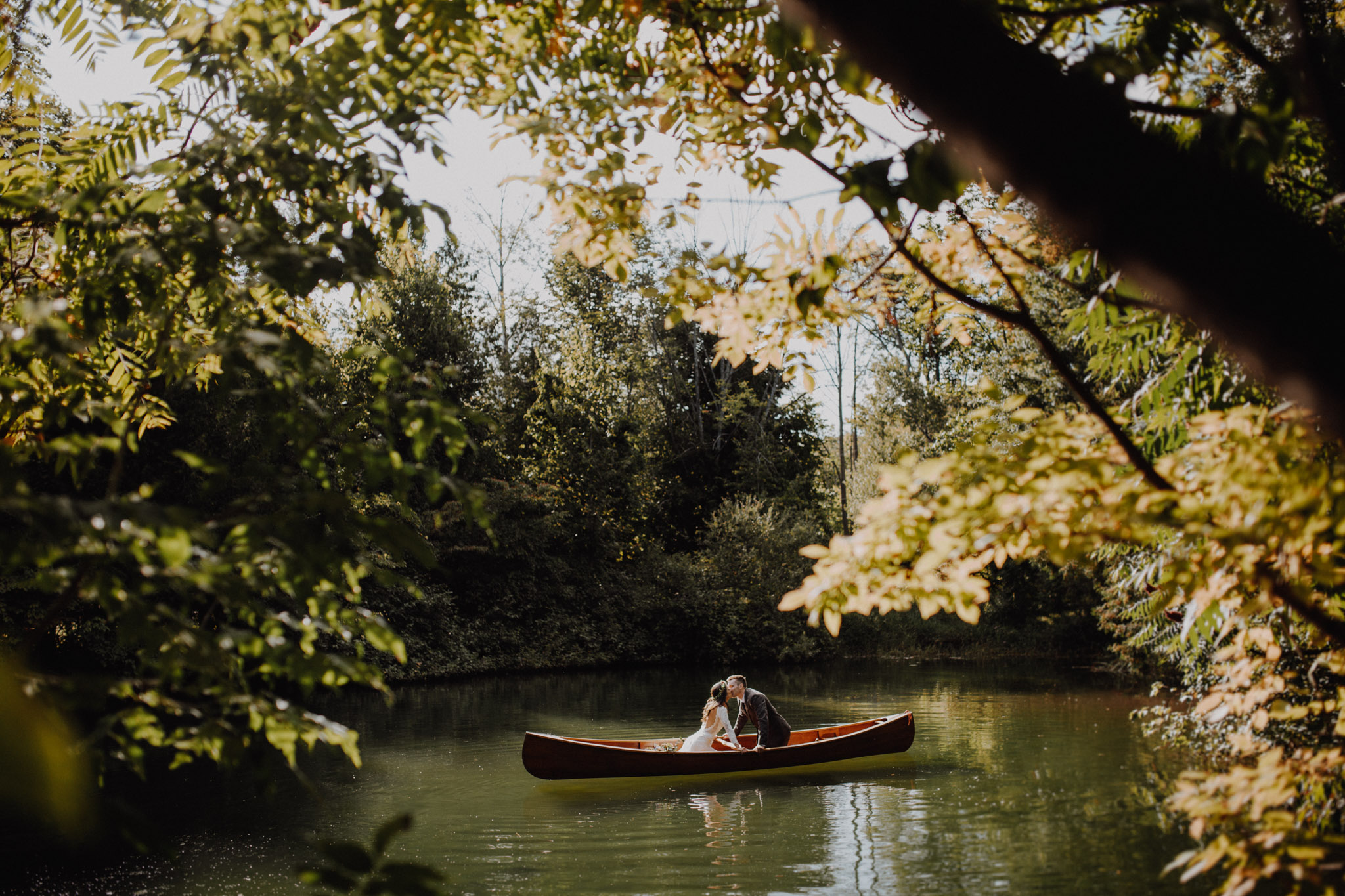 Outdoor Camp Wedding - portraits in the canoe