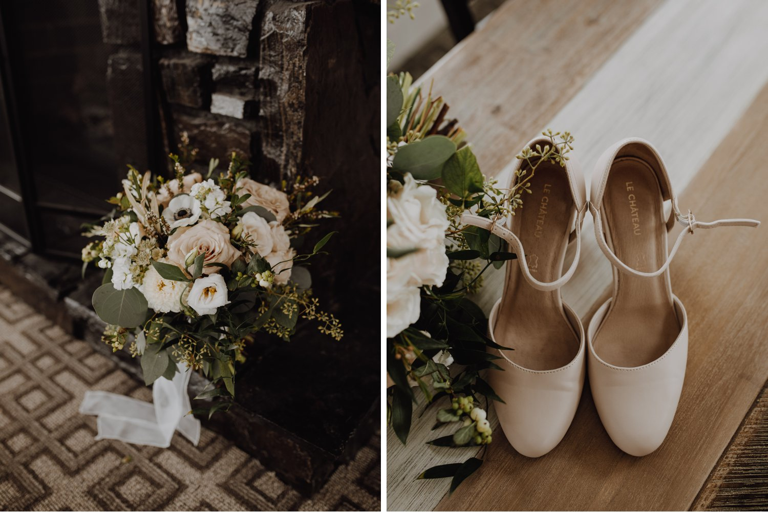 Banff Wedding - shoes and bouquet