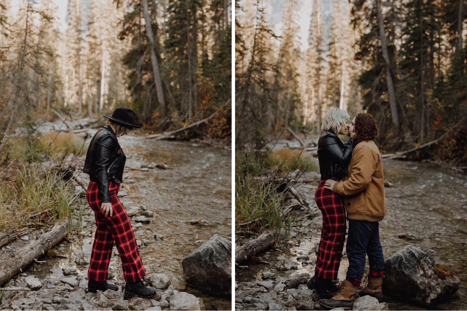 Emerald Lake - Banff engagement session by the river