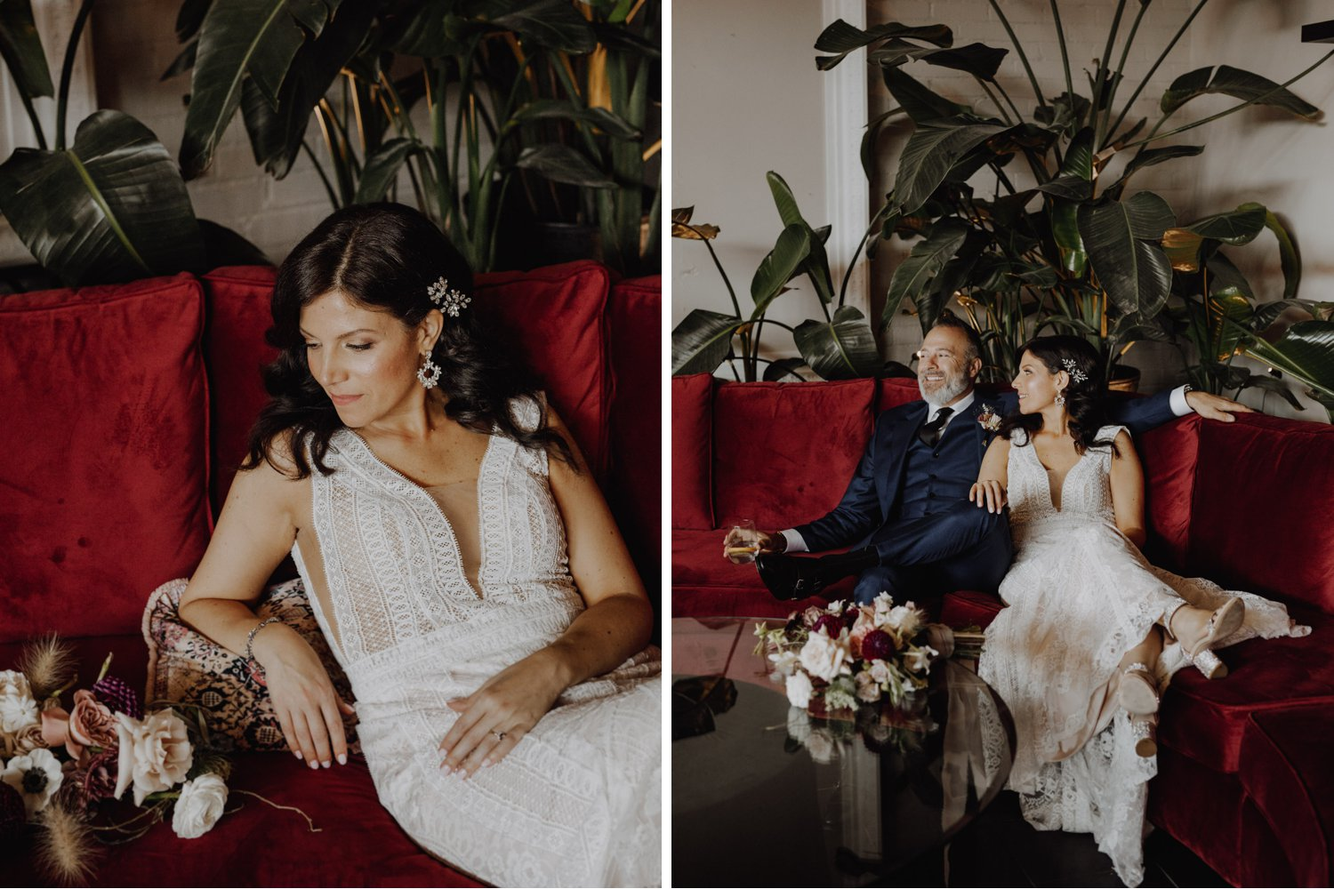 District 28 Wedding Toronto - Bride and Groom portraits on Red Couch