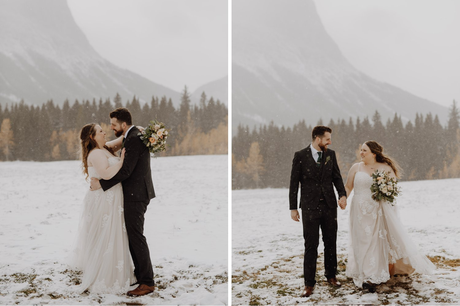 winter wedding in the snowy mountains