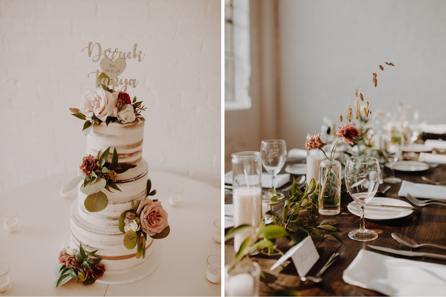 District 28 Wedding Toronto - cake and table details