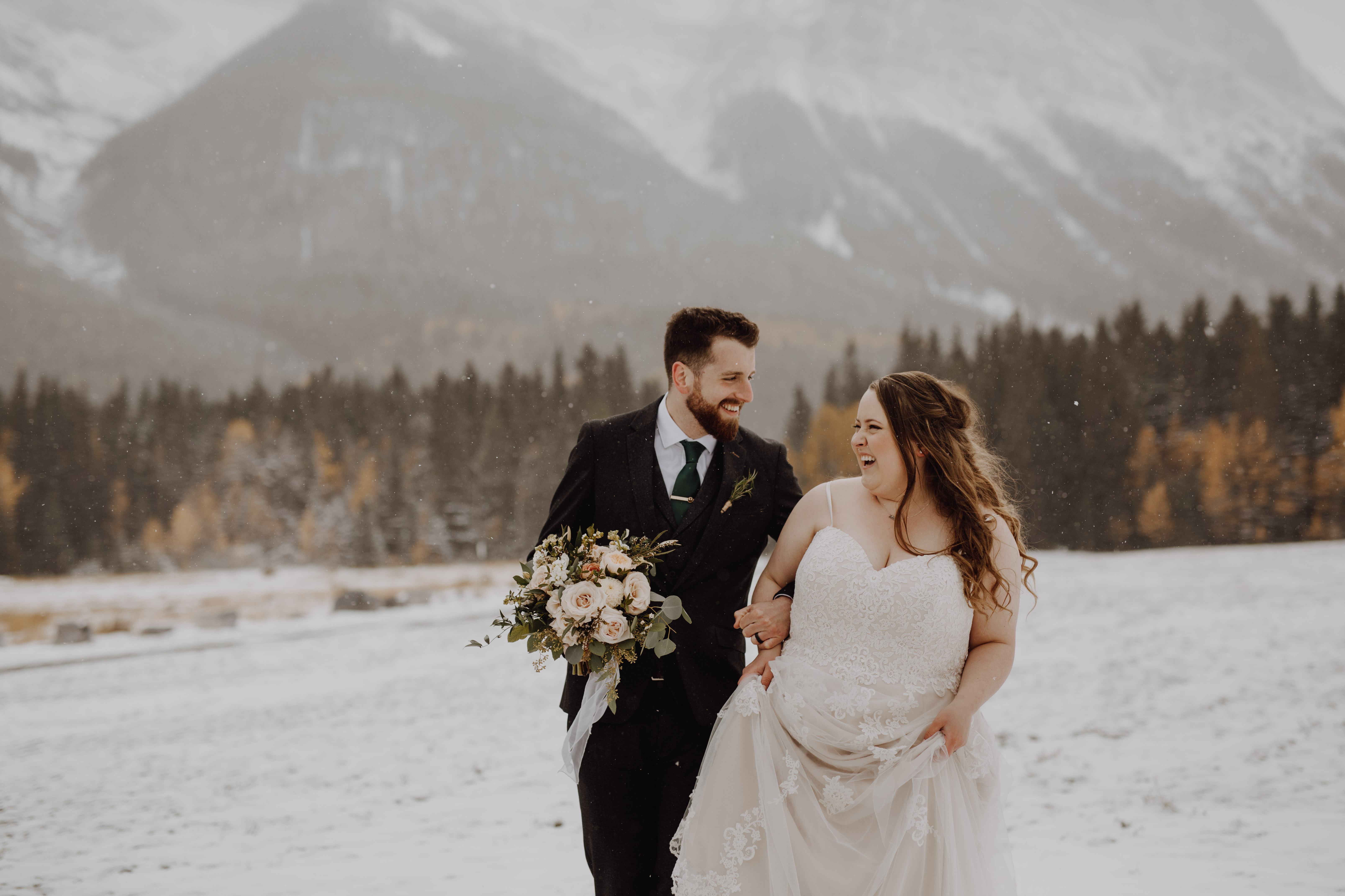 Banff Wedding - bride and groom in the snow