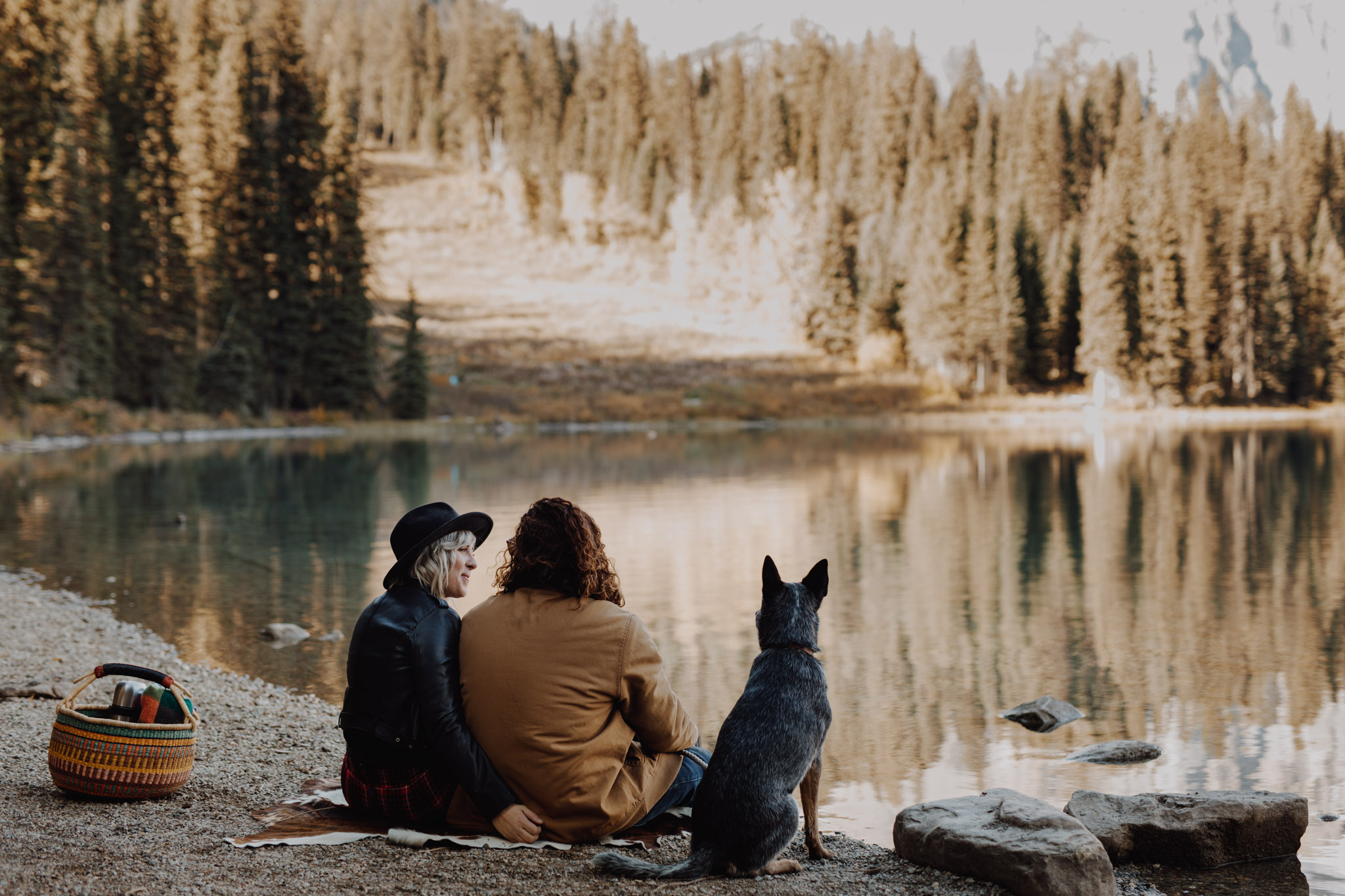 Emerald Lake Engagement with the dog