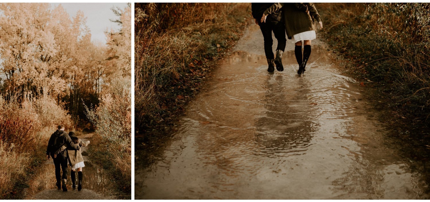 Fall Engagement Session in Toronto - walking through puddles