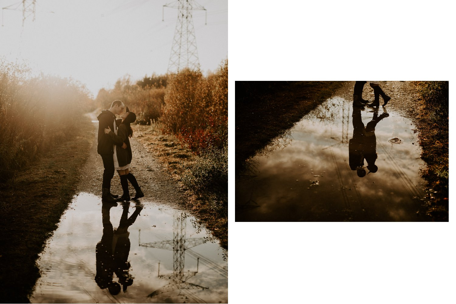 Fall Engagement Session in Toronto - puddle reflections