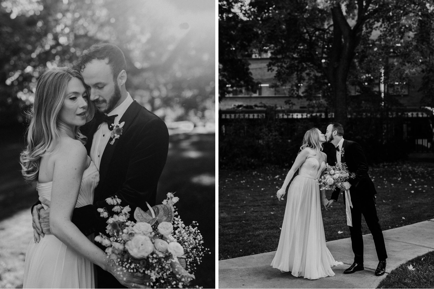 Casa La Palma Wedding - Bride and groom black and white portraits with bouquet