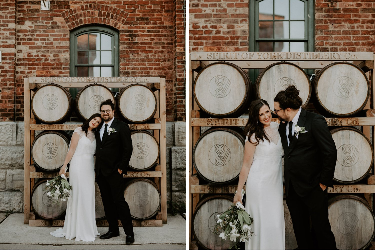 Archeo Wedding - Bride and groom brick wall and barrels portrait - Distillery District Toronto