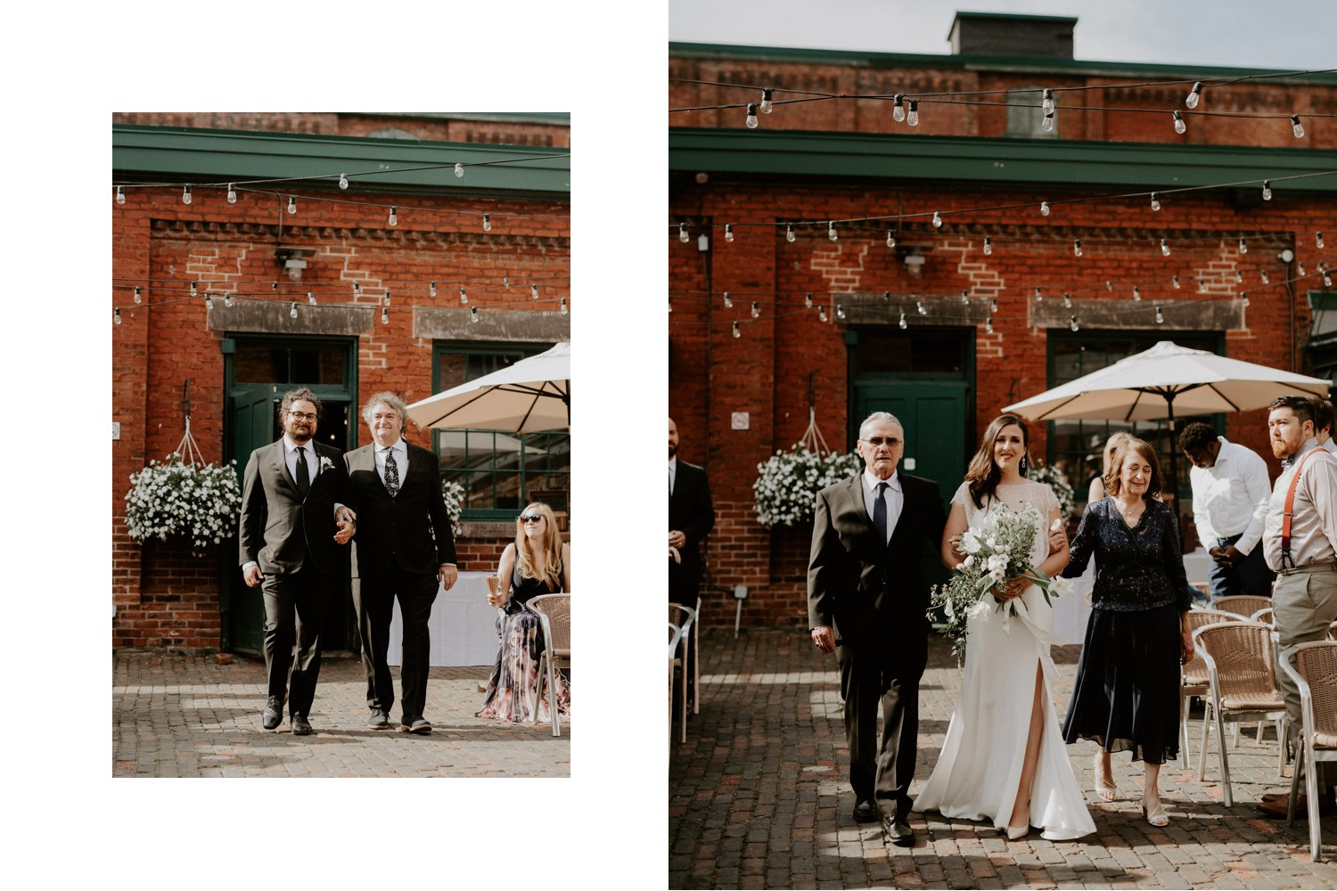 Archeo Wedding - Bride and groom walk down the aisle - Distillery District Toronto