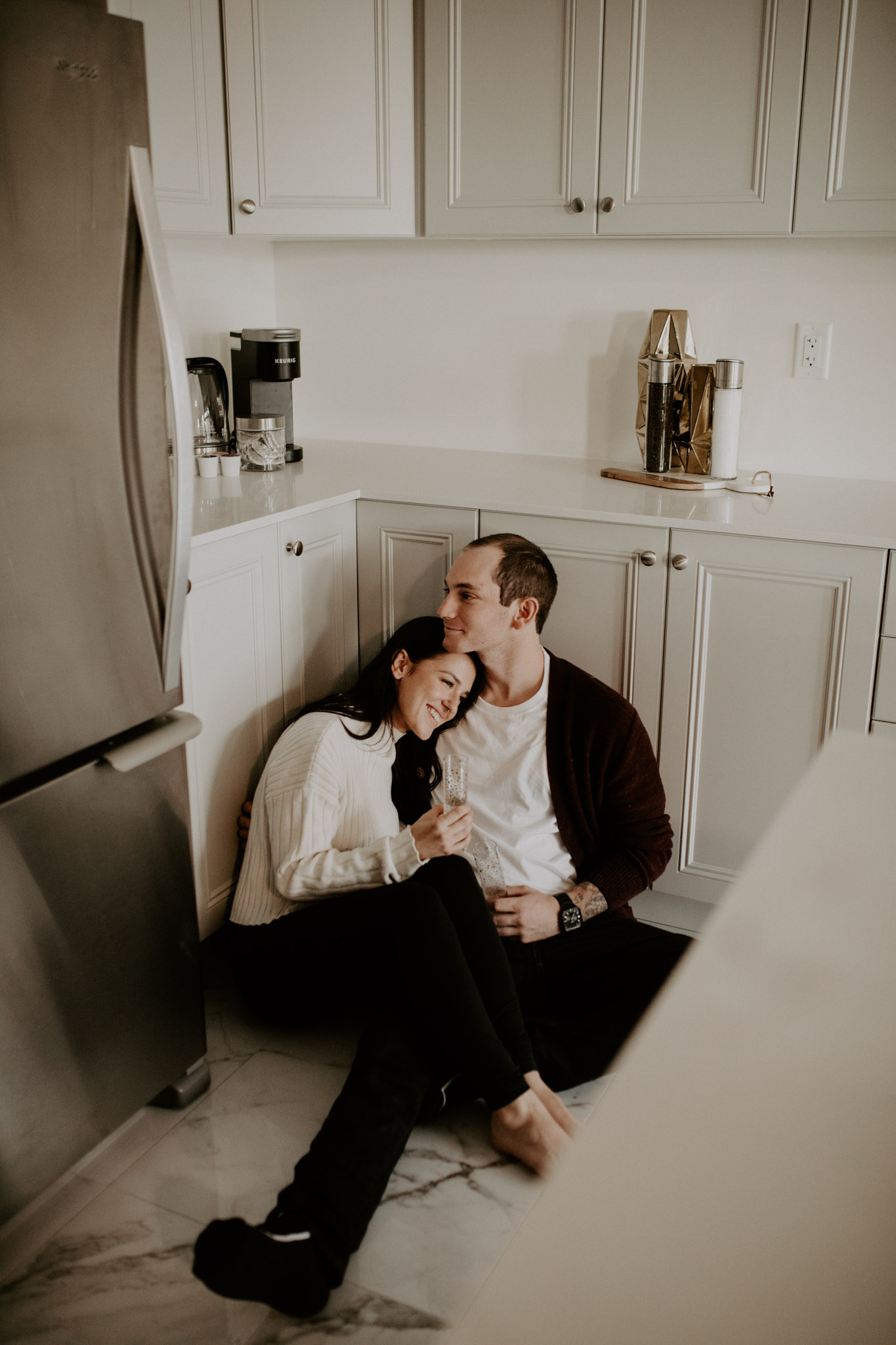 In Home Engagement Session - cuddles in the kitchen