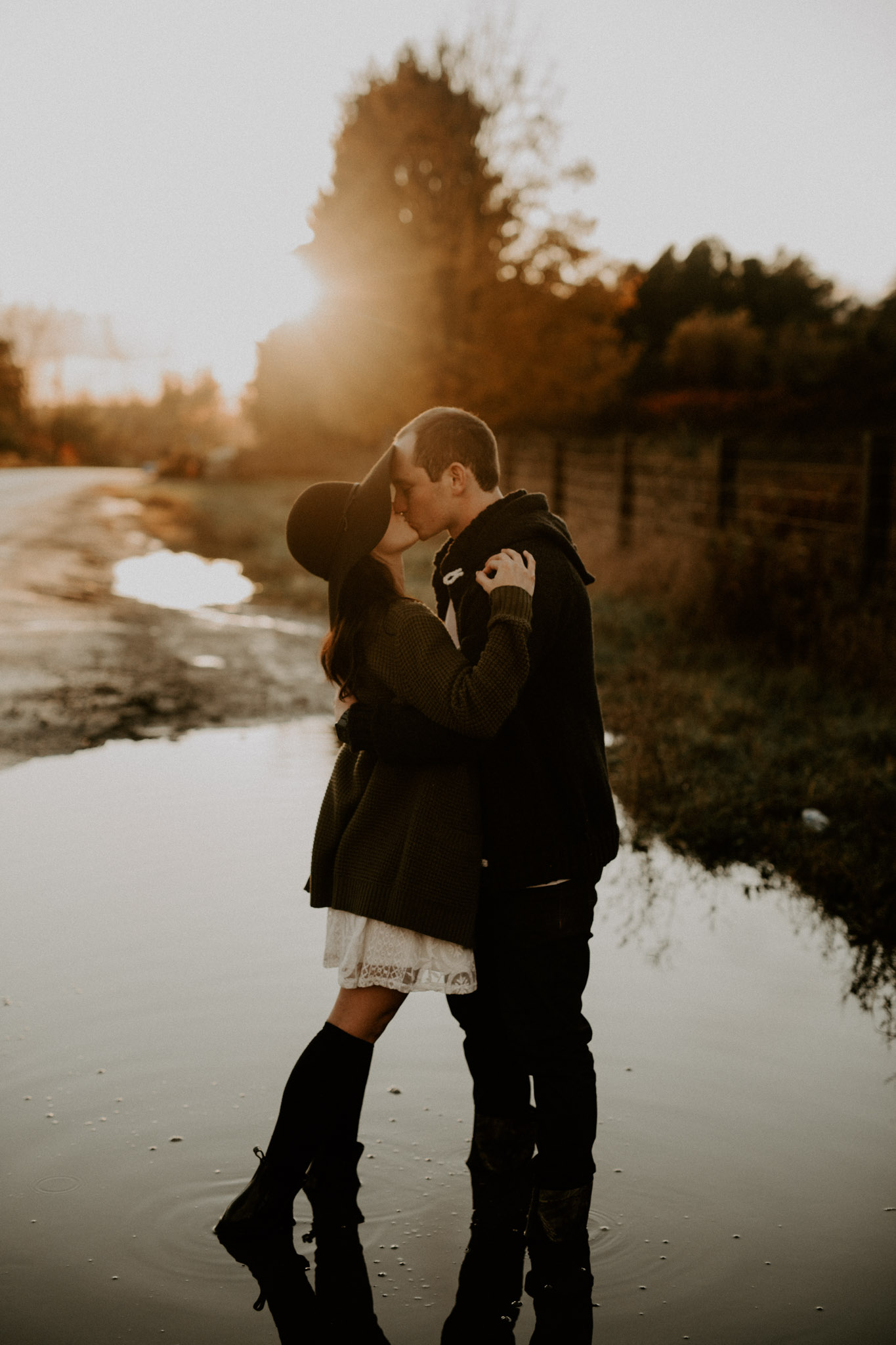 Sunset Fall Engagement Session After the Rain - Toronto