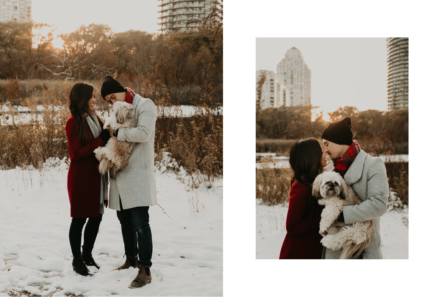 Winter Engagement in Toronto - couple kissing in snowy park with dog